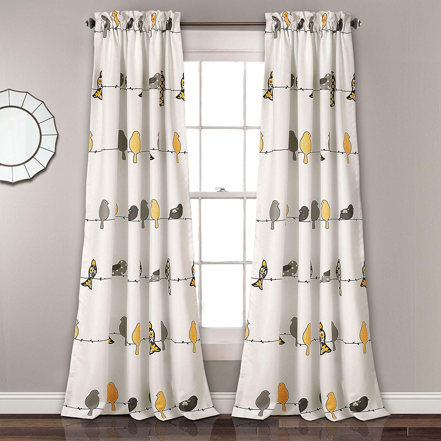 "Well Known Lush Decor Rowley Birds Room Darkening Window Curtains Panel Set For Living Room, Dining Room, Bedroom (pair), 84"" X 52"", Yellow And Gray With Regard To Rowley Birds Valances (View 20 of 20)"