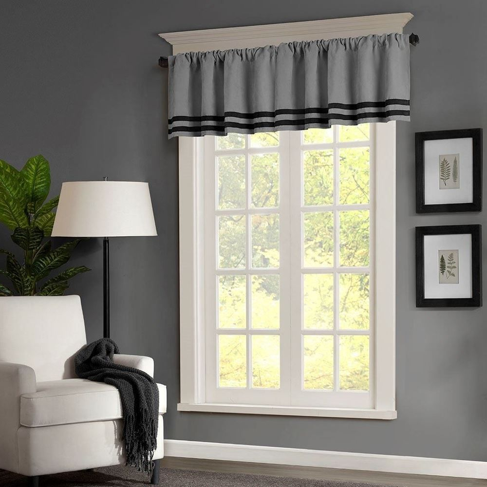 Well Known Luxury Light Filtering Straight Curtain Valances With Regard To Luxury Grey & Black Striped Microsuede Window Valance – Rod (View 16 of 20)