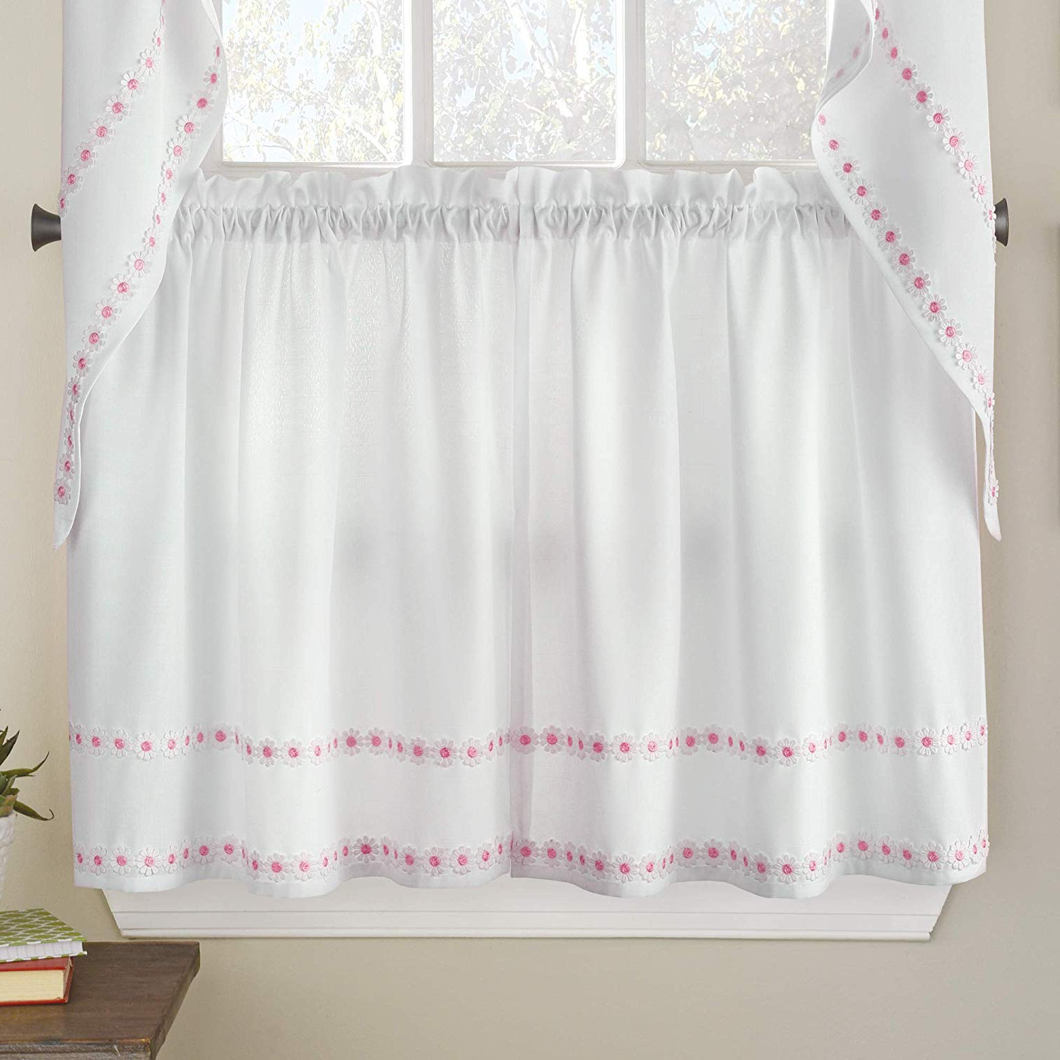 "Well Known Marine Life Motif Knitted Lace Window Curtain Pieces With Regard To Sweet Home Collection Reef Marine Knitted Lace Kitchen Curtains, 36"" Tier, White (View 10 of 20)"