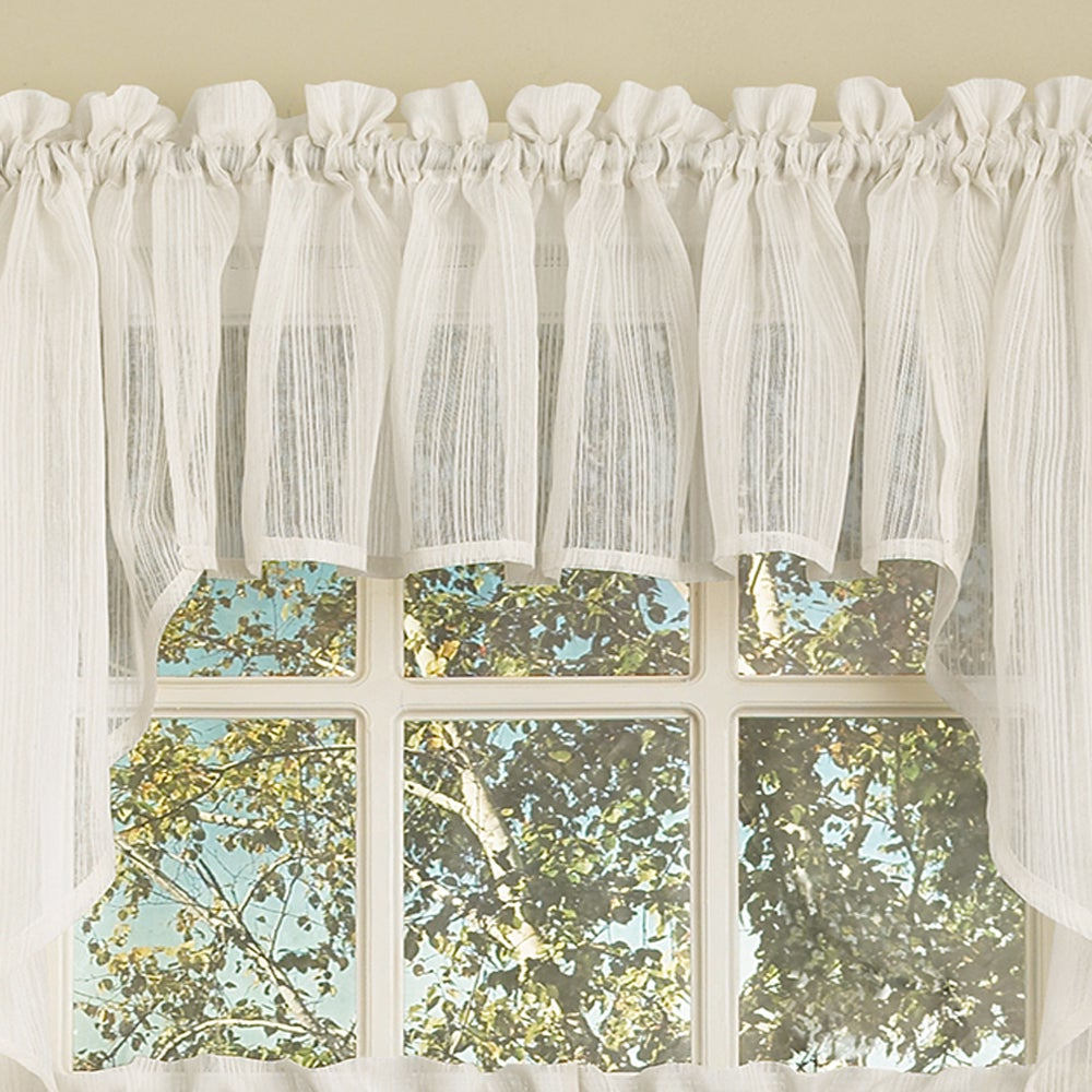 Well Known Micro Striped Semi Sheer Window Curtain Pieces Inside White Micro Striped Semi Sheer Window Curtain Pieces – Tiers, Valance And Swag Options (View 5 of 20)
