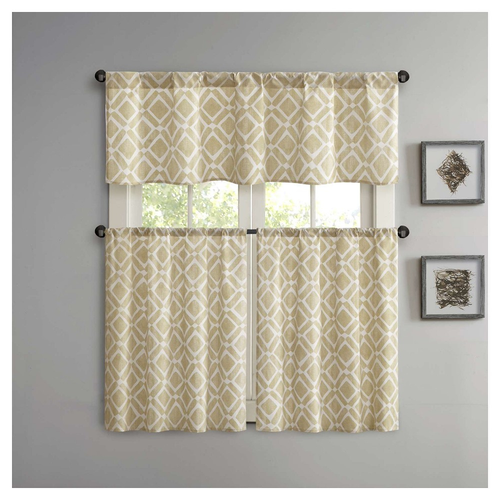"""Well Known Natalie Printed Diamond Kitchen Tier Orange (60x24""""), Size With Regard To Country Style Curtain Parts With White Daisy Lace Accent (View 19 of 20)"""