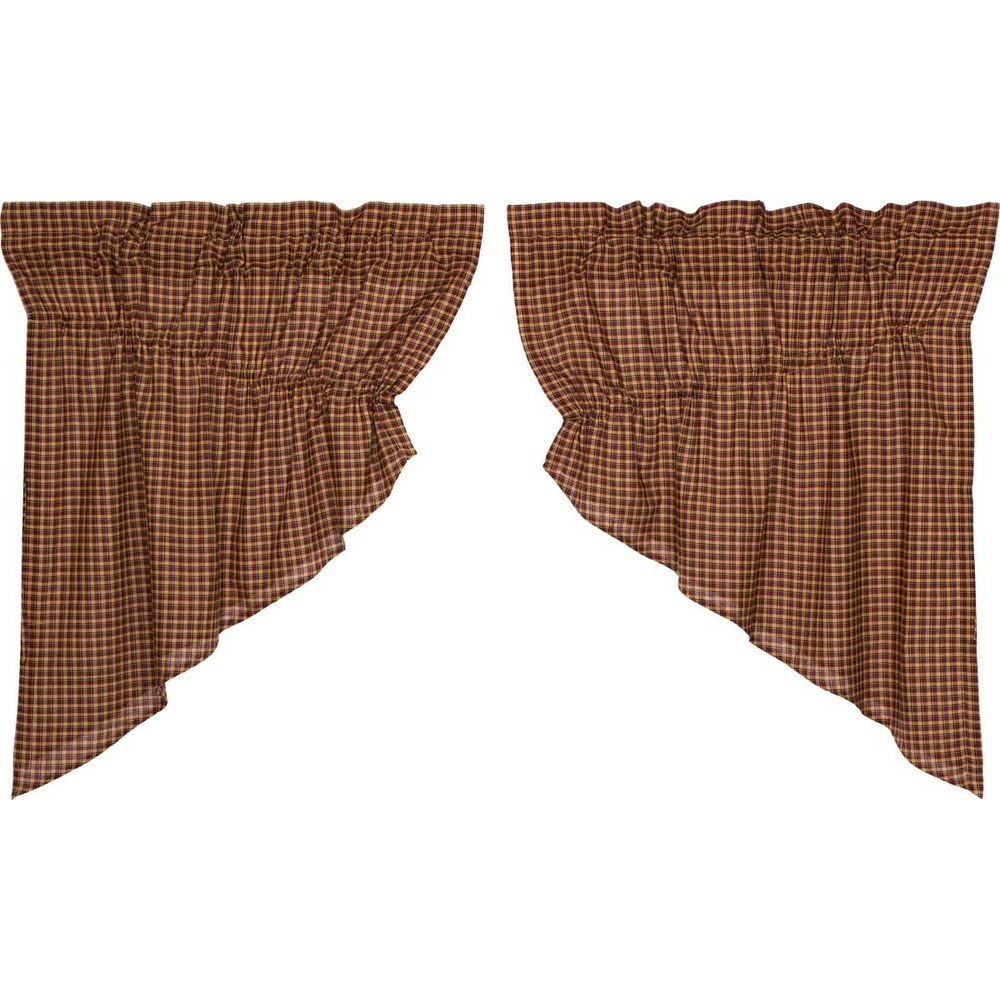 Well Known Red Primitive Kitchen Curtains Antique Patch Prairie Swag Pair Rod Pocket (View 17 of 20)