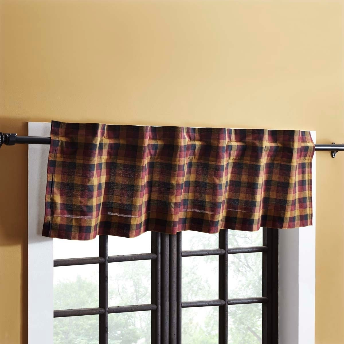 Well Known Red Primitive Kitchen Curtains Vhc Heritage Farms Valance Rod Pocket Cotton  Plaid – 16X72 Intended For Red Primitive Kitchen Curtains (View 19 of 20)