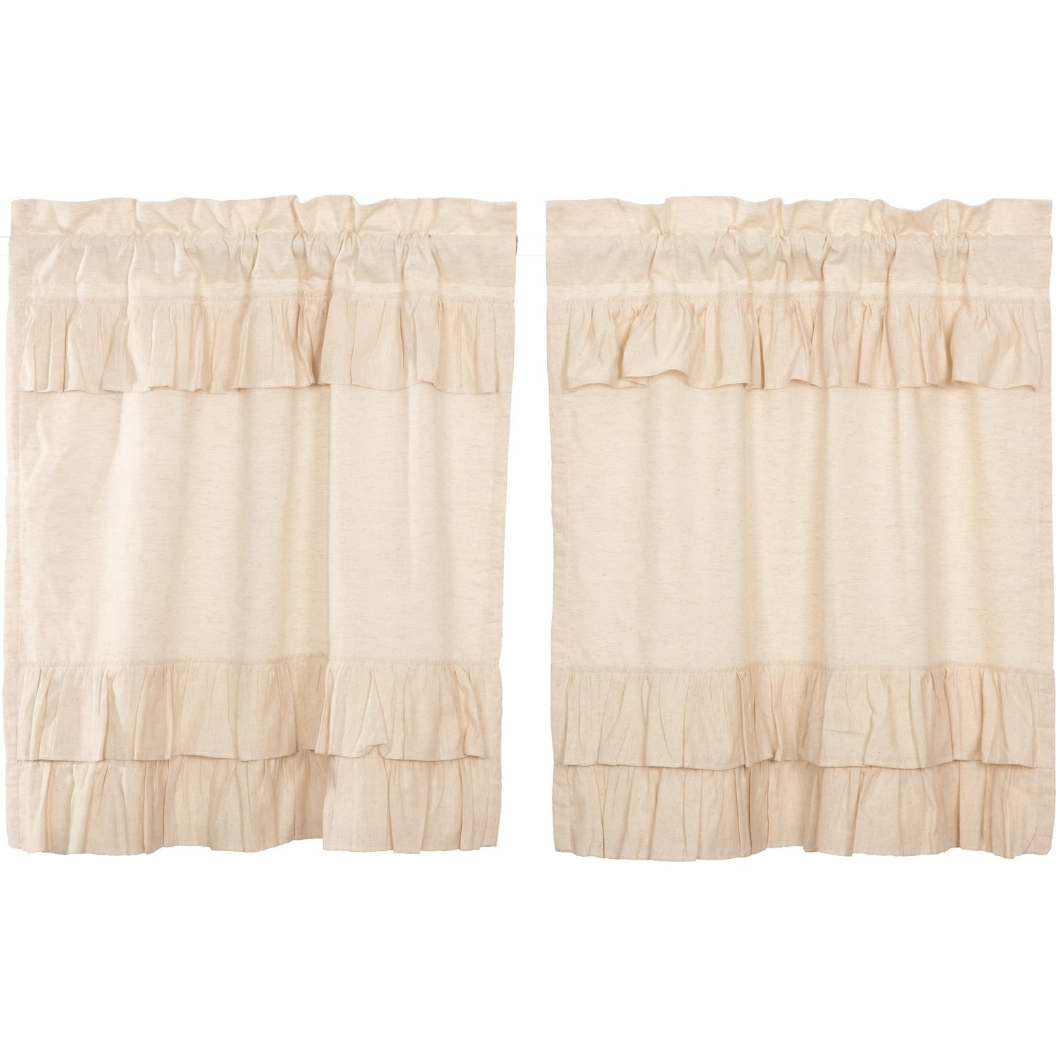 Well Known Rod Pocket Cotton Linen Blend Solid Color Flax Kitchen Curtains Intended For Farmhouse Kitchen Curtains Vhc Simple Life Flax Tier Pair Rod Pocket Cotton Linen Blend Solid Color Flax (View 13 of 20)