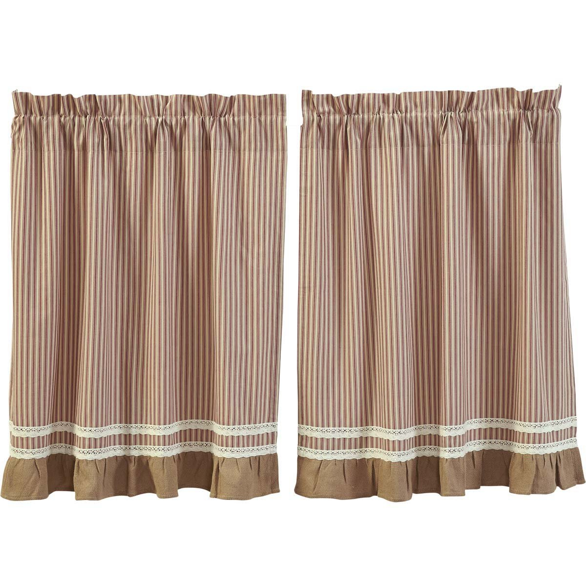 Well Known Rod Pocket Cotton Striped Lace Cotton Burlap Kitchen Curtains Inside Vhc Brands Classic Country Farmhouse Kitchen Window Curtains Kendra Stripe White Tier Pair, L36 X W36, Red (View 6 of 20)