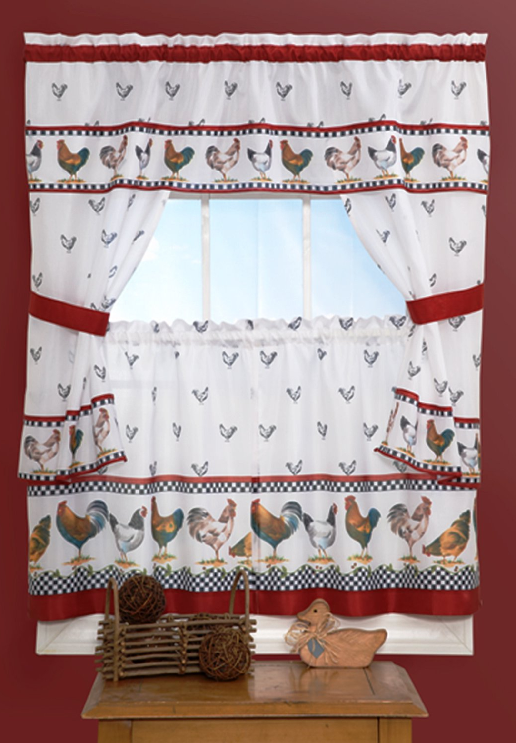 "Well Known Sweet Home Collection 4 Piece Kitchen Curtain Set With With Tier Pair, Tiebacks, And Valance, 36"", Morning Rooster Throughout Top Of The Morning Printed Tailored Cottage Curtain Tier Sets (View 2 of 20)"