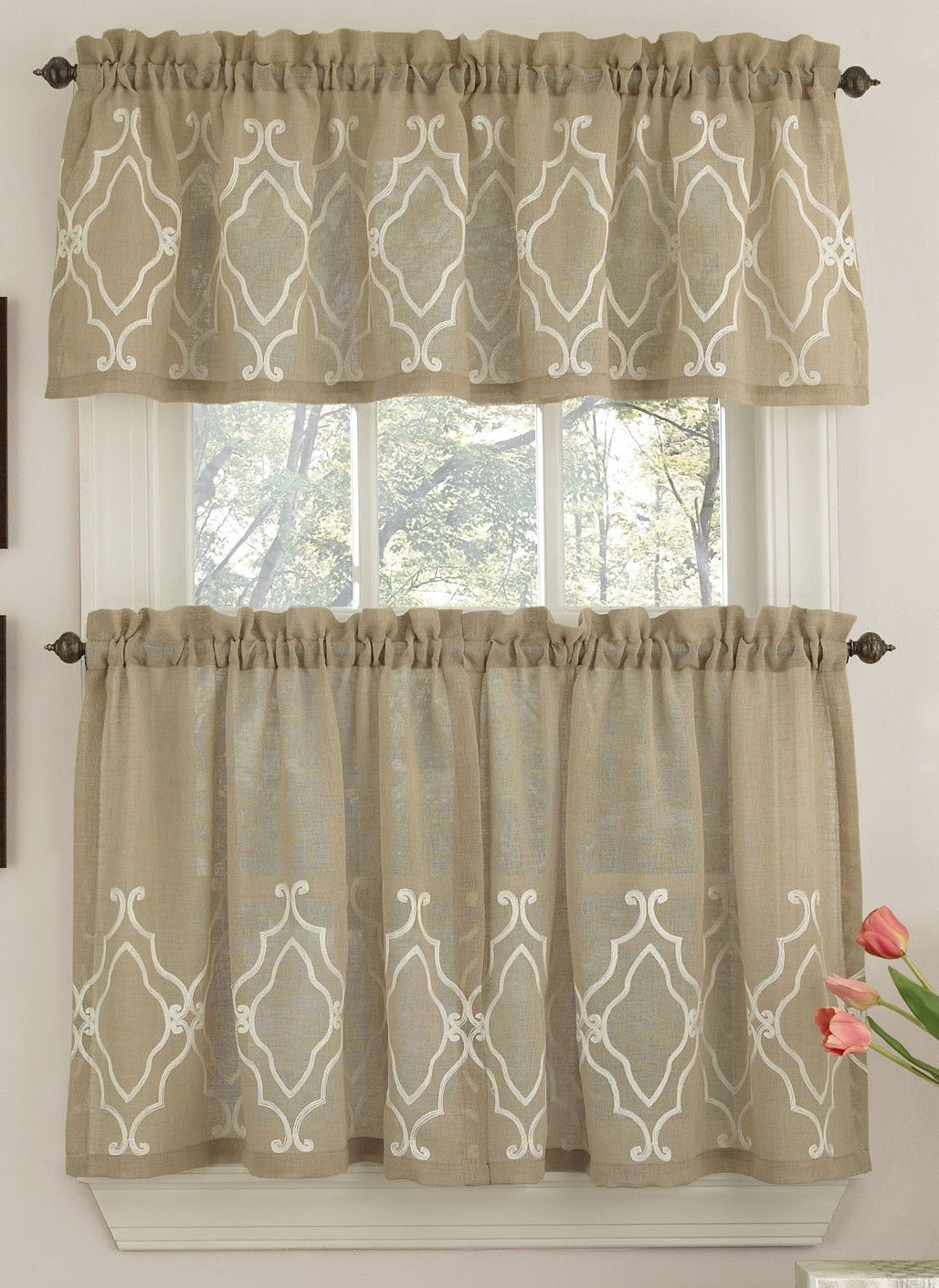 Well Known Tailored Valance And Tier Curtains For Carlyle Stitched Quatrafoil Kitchen Tier Curtains In (View 11 of 20)