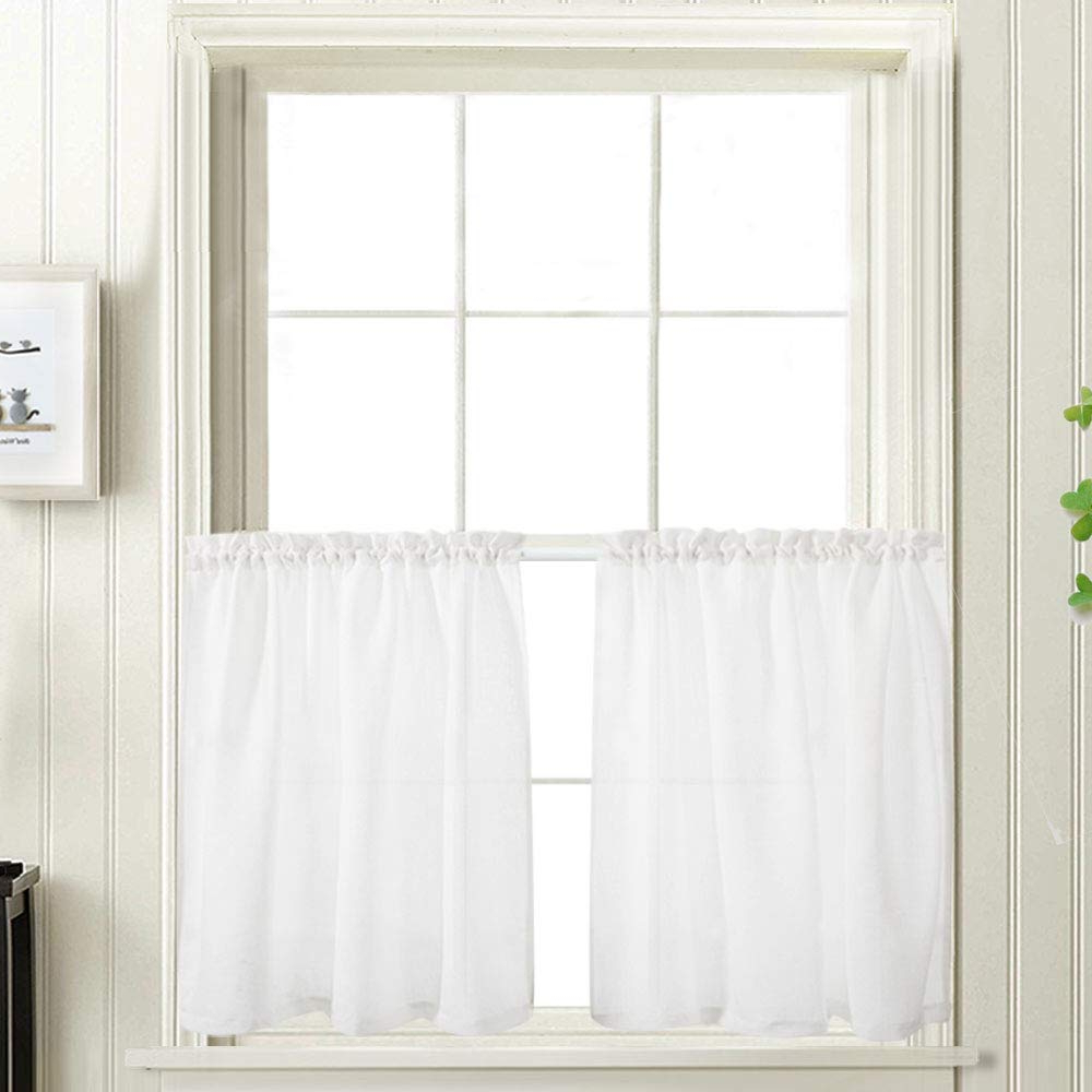Well Known Touch Of Spring 24 Inch Tier Pairs With Regard To 24 Inch White Kitchen Tiers Semi Sheer Caf?curtains Rod Pocket Casual Weave Textured Half Window Curtains For Bathroom 2 Panels (View 15 of 20)
