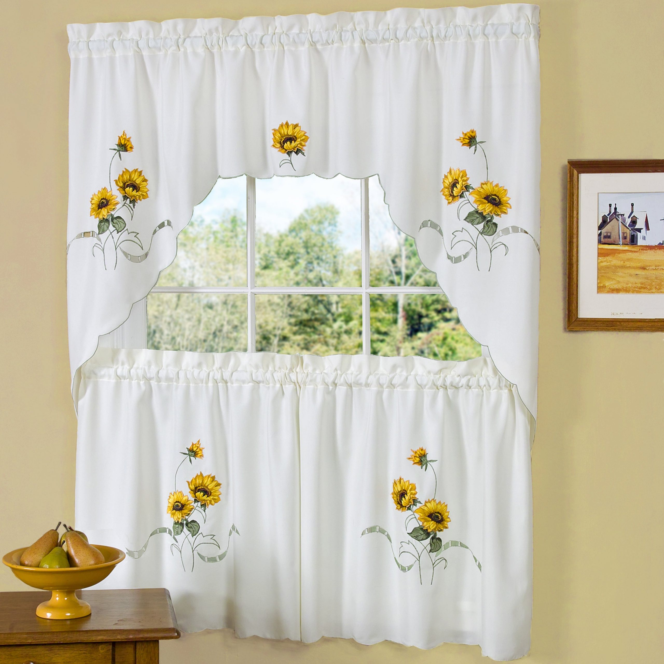 Well Known Traditional Two Piece Tailored Tier And Swag Window Curtains Set With Embroidered Yellow Sunflowers – 36 Inch With Embroidered Floral 5 Piece Kitchen Curtain Sets (View 6 of 20)