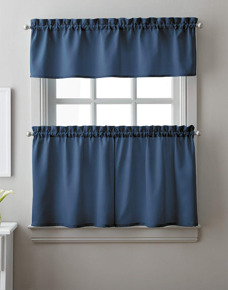 Well Known Twill 3 Piece Kitchen Curtain Tier Sets Regarding Amazon: Solid Twill 3 Piece Kitchen Curtain Set, Rod (View 4 of 20)