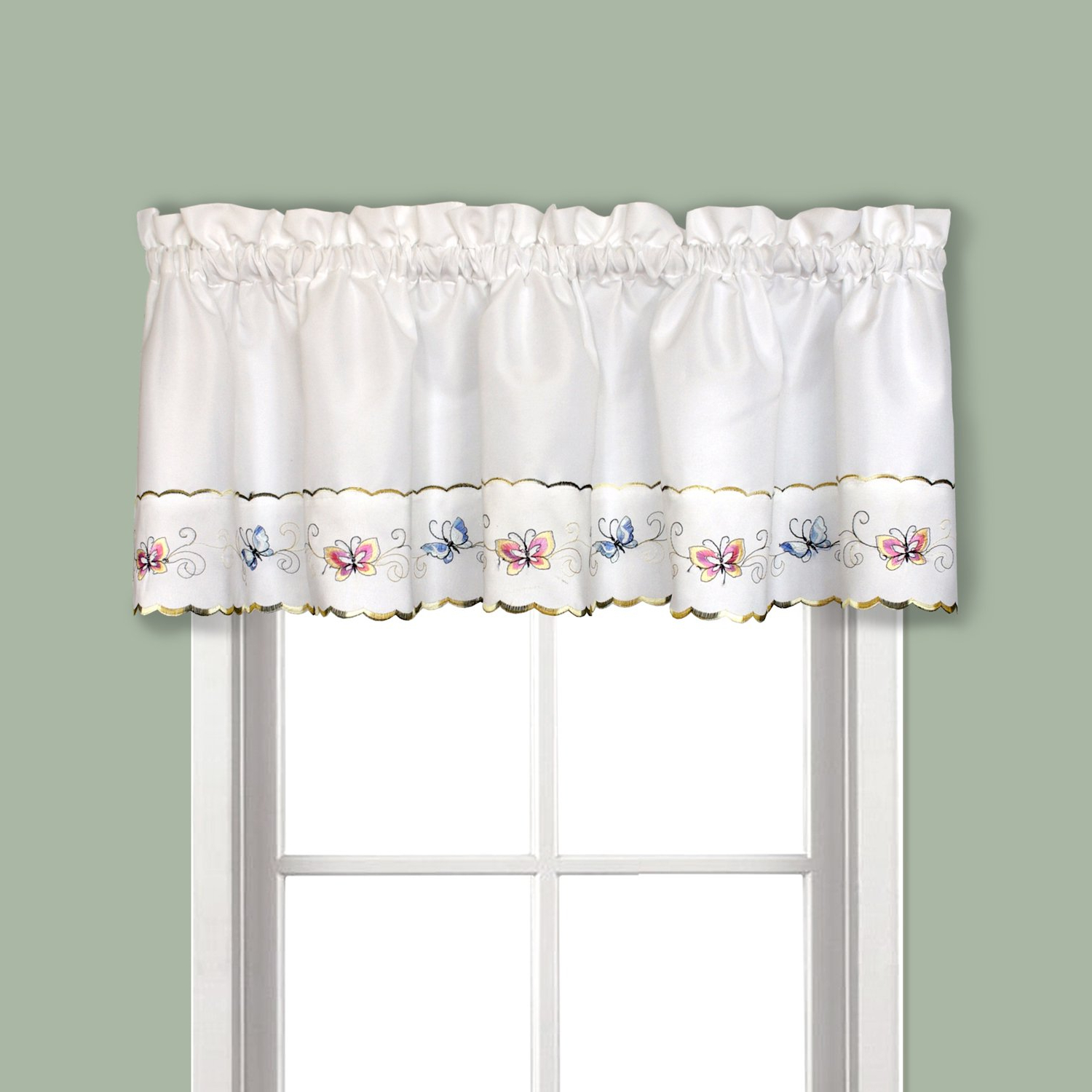 """Well Known United Curtain Butterfly Embroidered Valance, 52"""" X 14"""", Multi Throughout Fluttering Butterfly White Embroidered Tier, Swag, Or Valance Kitchen Curtains (View 7 of 20)"""