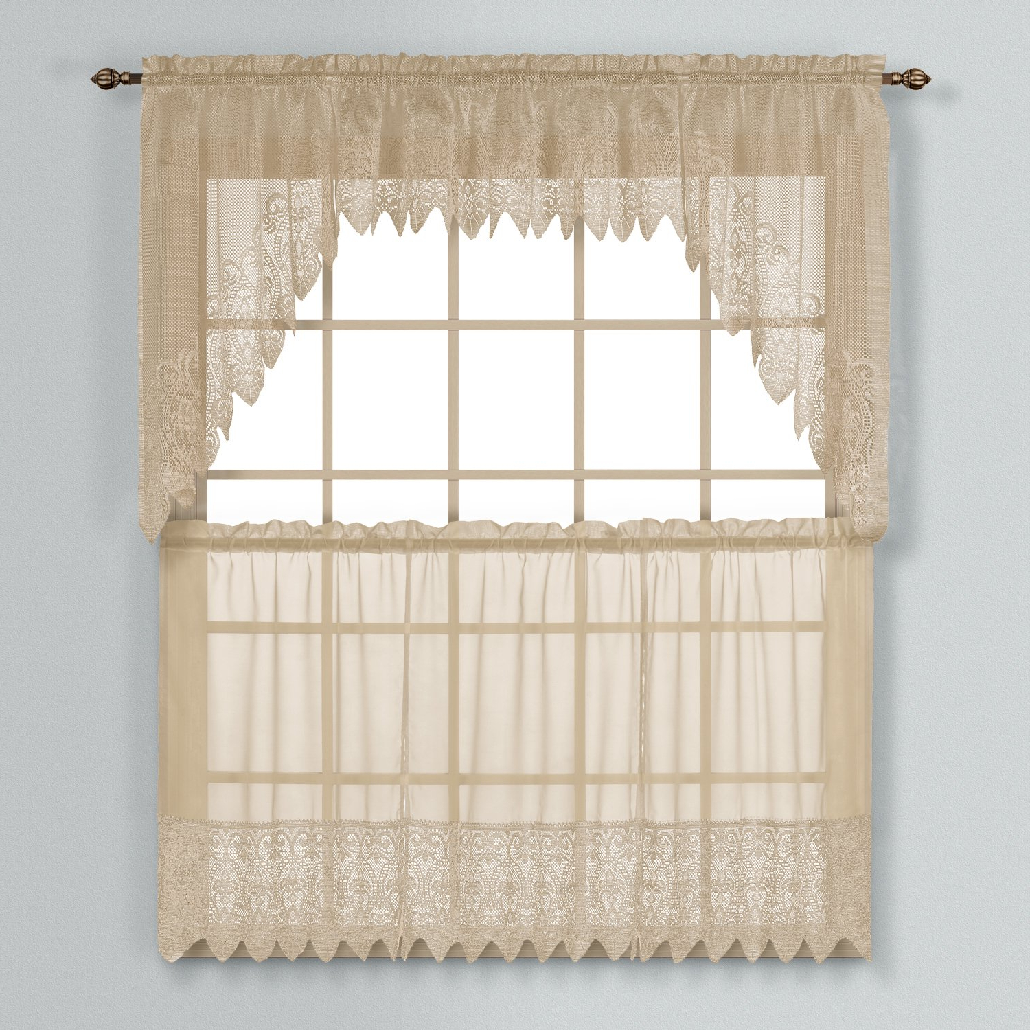 Well Known United Curtain Valerie Lace Sheer Kitchen Tiers, 5236 Inch, Taupe, Set  Of 2 Pertaining To Sheer Lace Elongated Kitchen Curtain Tier Pairs (Gallery 16 of 20)