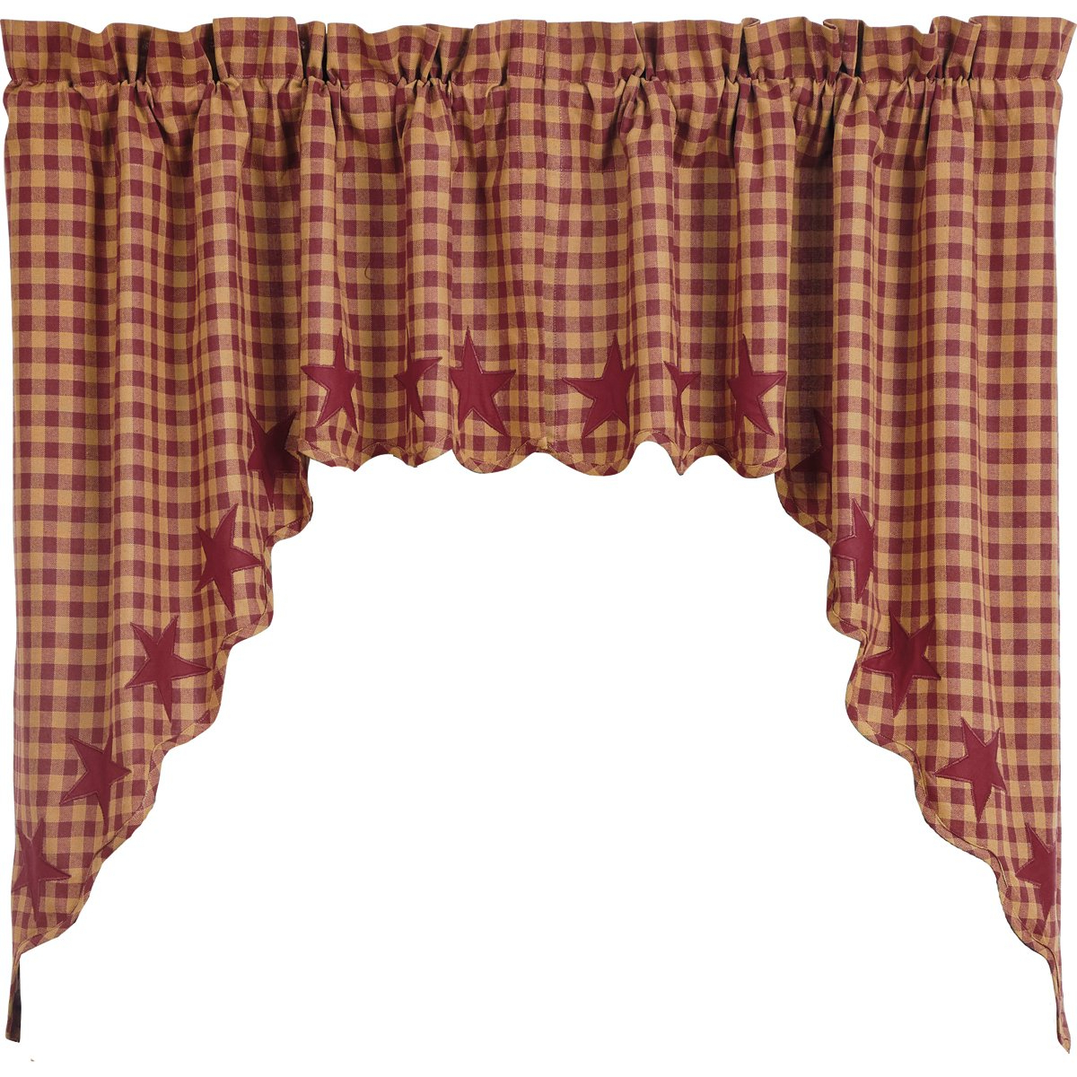 Well Known Vhc Brands Classic Country Primitive Kitchen Window Curtains – Star Red  Scalloped Swag Pair Burgundy With Regard To Red Primitive Kitchen Curtains (View 18 of 20)
