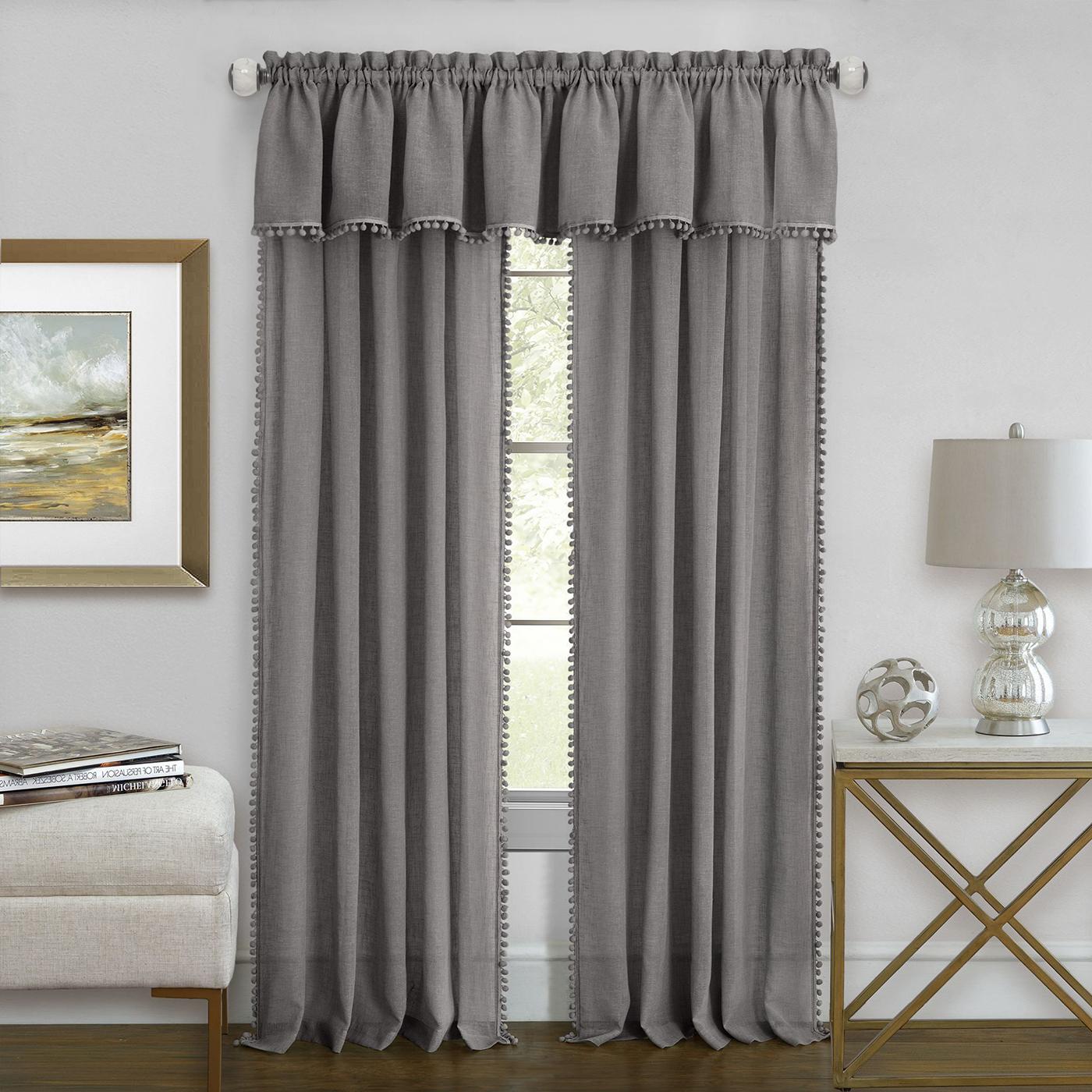 Well Known Wallace Window Kitchen Curtain Tiers Regarding Detalles Acerca De Gris Plata Semi Transparentes Sólido Nivel, Paneles, Cenefa Con Pompones Vertical Mostrar Título Original (View 13 of 20)