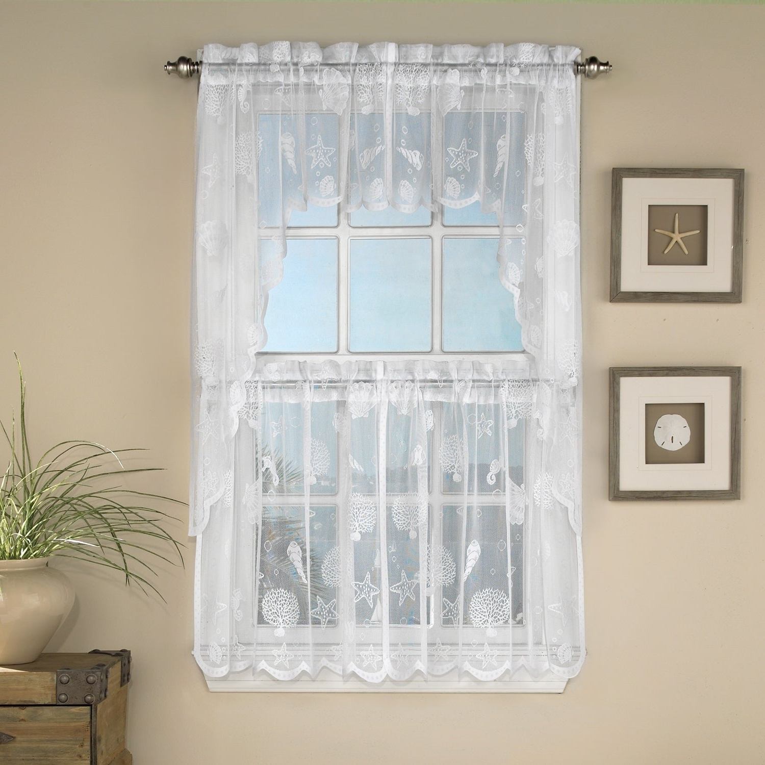 Well Known White Knit Lace Bird Motif Window Curtain Tiers Pertaining To Marine Life Motif Knitted Lace Window Curtain Pieces (View 15 of 20)