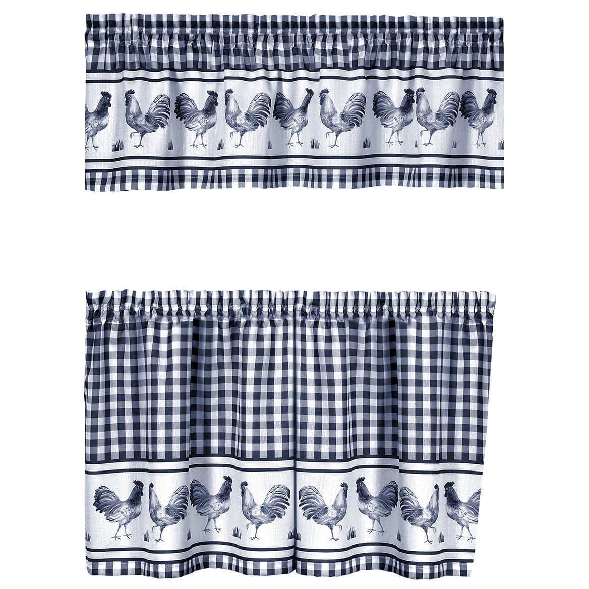 Well Liked Amazon: Fox Valley Traders Rooster Barnyard Kitchen Tier Inside Barnyard Window Curtain Tier Pair And Valance Sets (View 19 of 20)