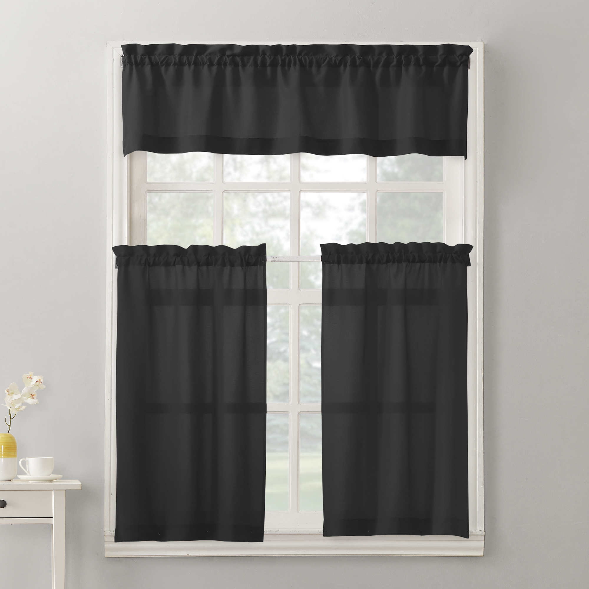 Well Liked Barnyard Window Curtain Tier Pair And Valance Sets Regarding Mainstays Solid 3 Piece Kitchen Curtain Tier And Valance Set (View 15 of 20)