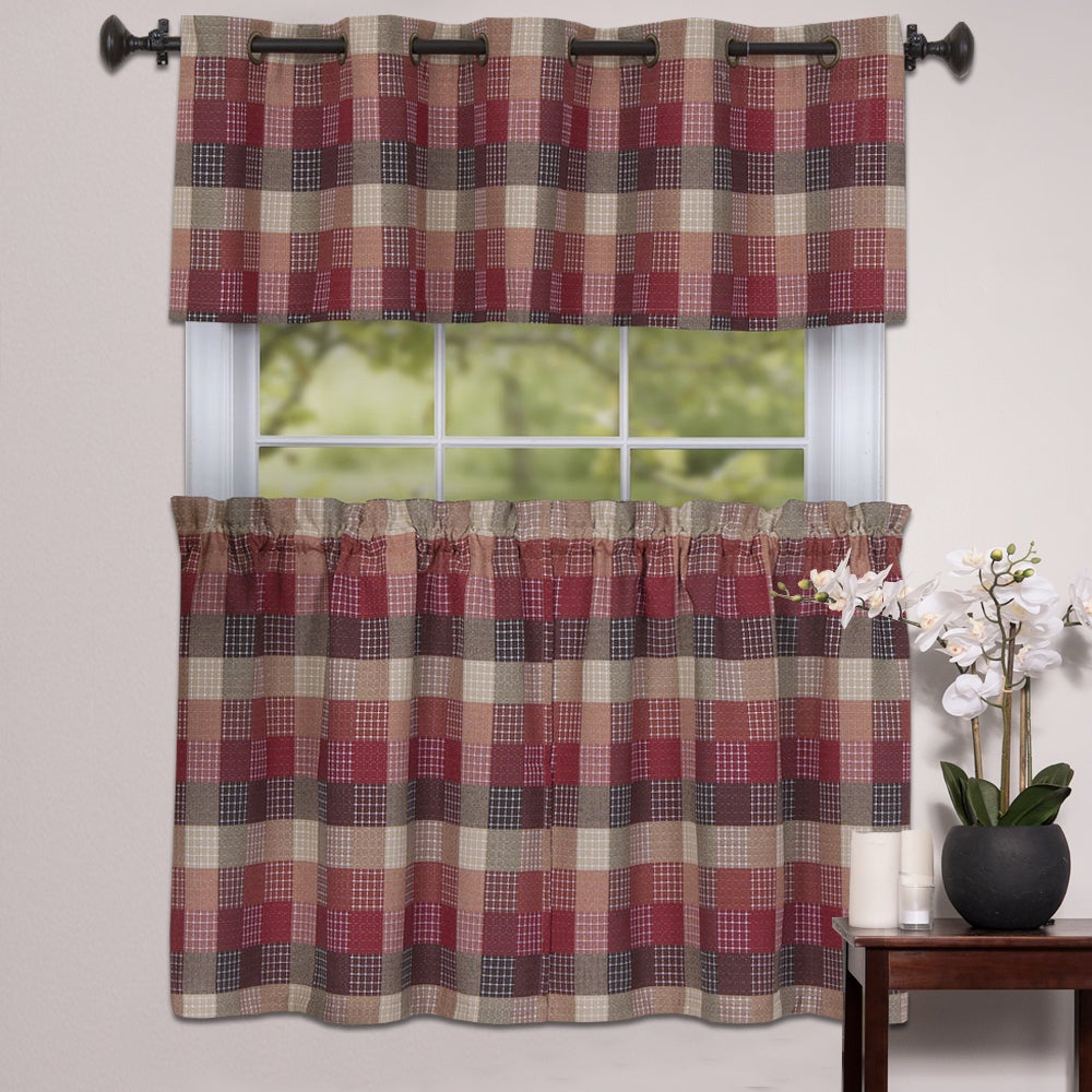 Well Liked Burgundy Cotton Blend Classic Checkered Decorative Window Curtain Separates Tier Pair With Regard To Cotton Blend Classic Checkered Decorative Window Curtains (View 2 of 20)