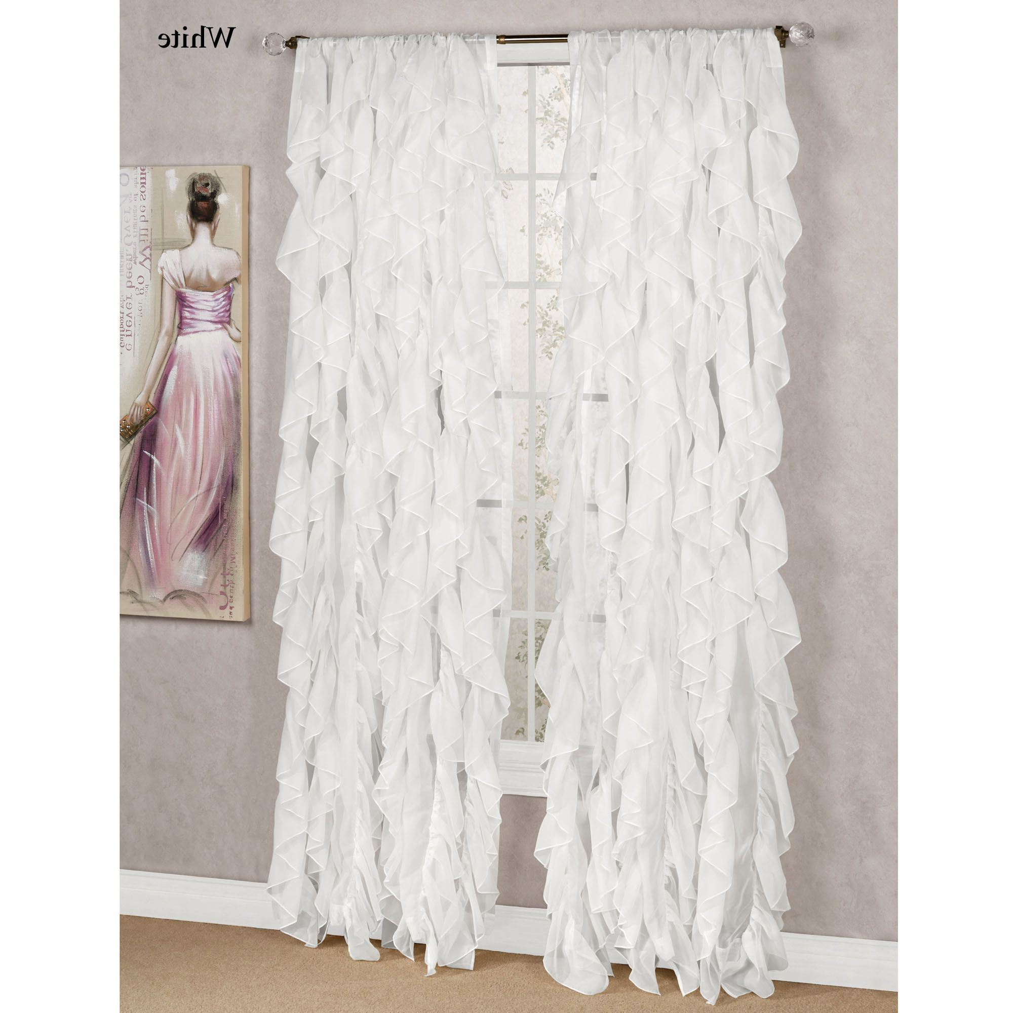 Well Liked Cascade Sheer Voile Ruffled Window Treatment Throughout Chic Sheer Voile Vertical Ruffled Window Curtain Tiers (View 12 of 20)