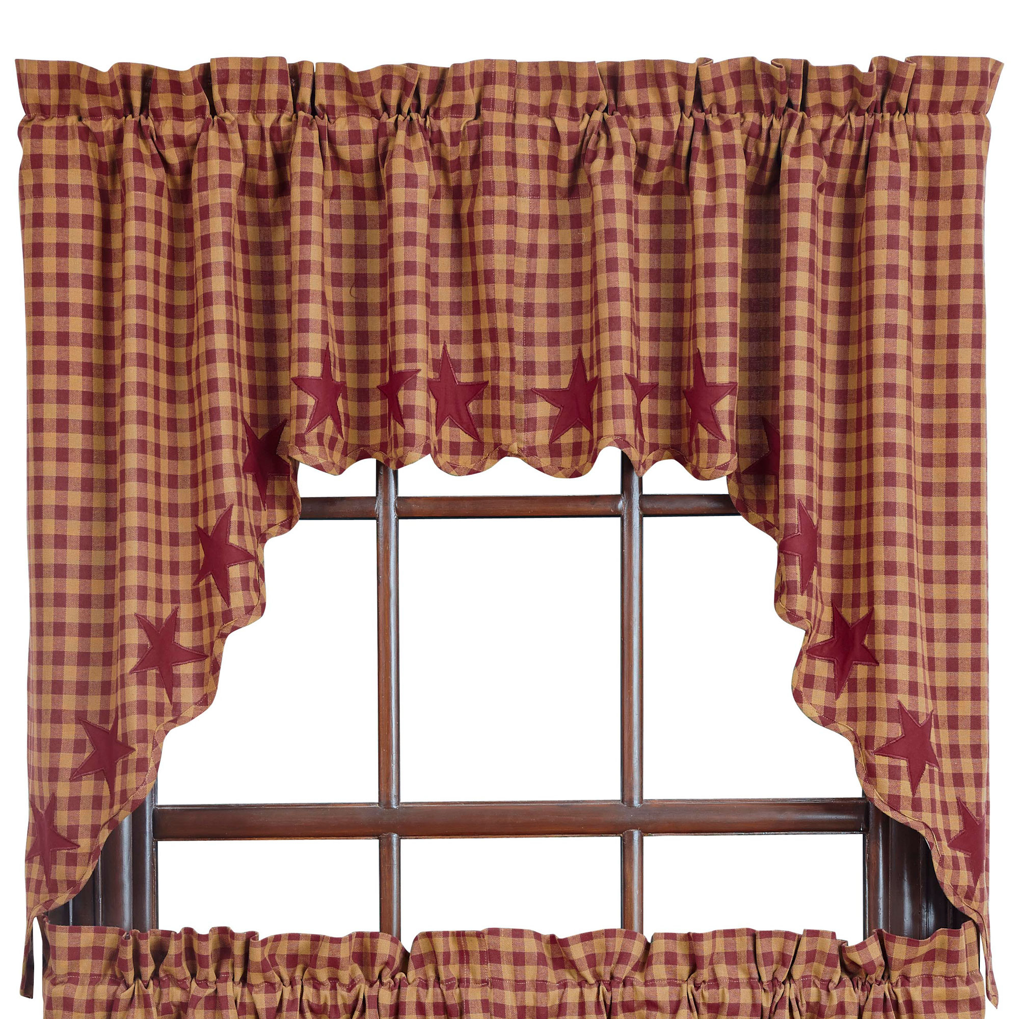 Well Liked Check Scalloped Swag Sets Within Burgundy Star Scalloped Swag Set Of 2 36x36x (View 6 of 20)