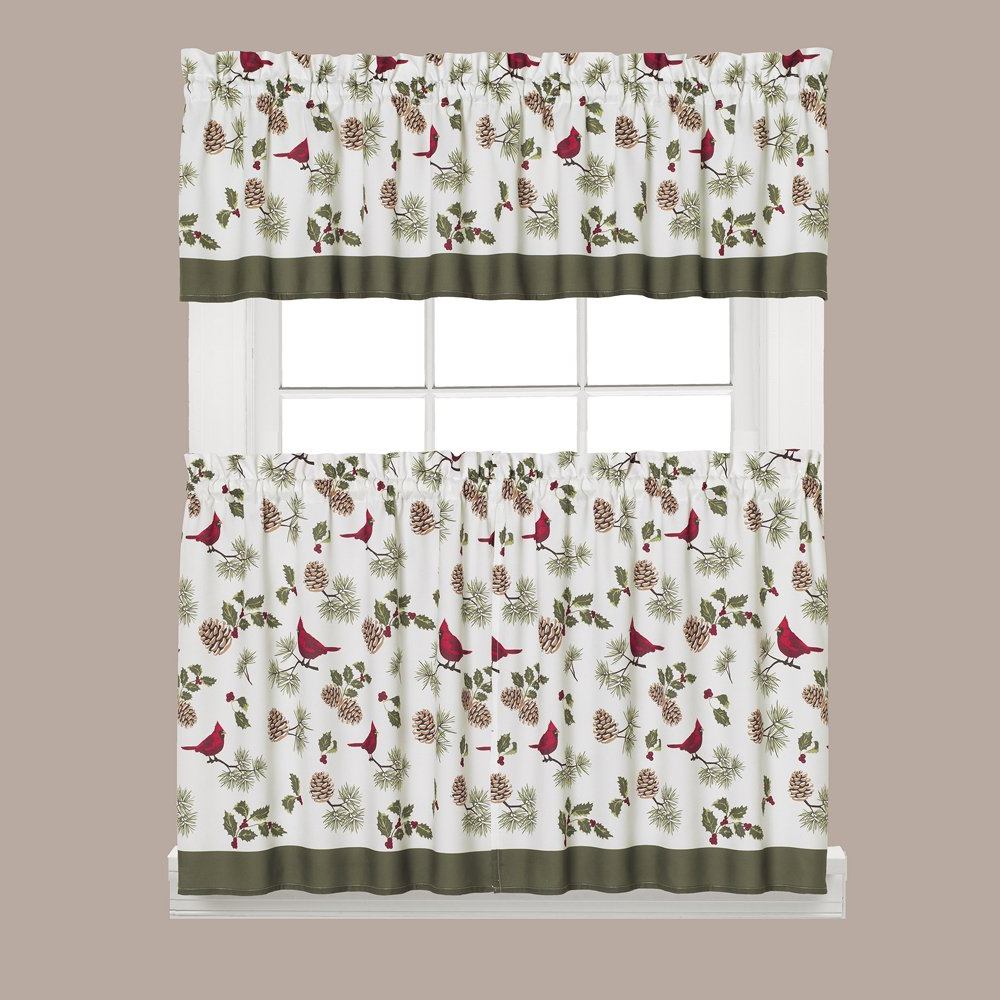 """Well Liked Christmas Magic Collection Cheerful Trimmings Kitchen Curtain – Tier Pair  Only (57"""" X 24"""") With Tranquility Curtain Tier Pairs (View 19 of 20)"""