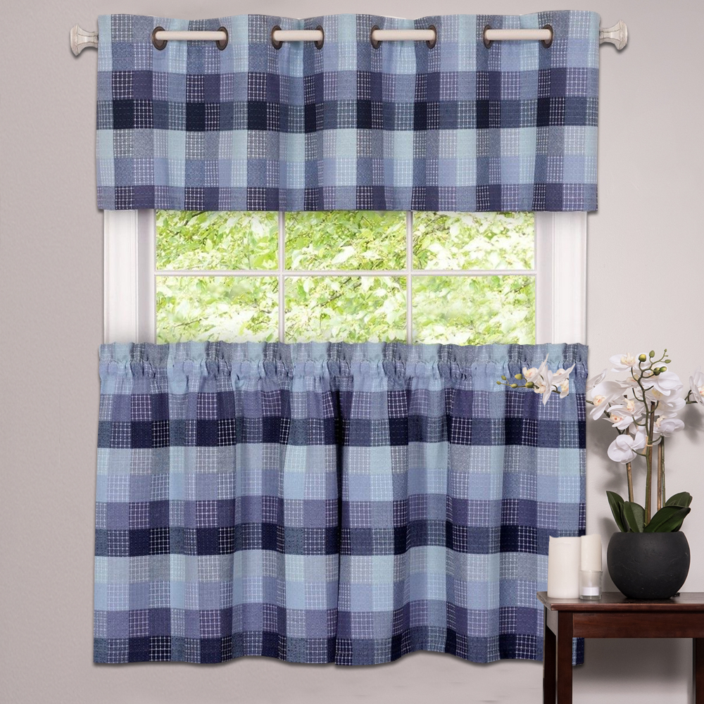 Well Liked Classic Black And White Curtain Tiers For Details About Kitchen Window Curtain Classic Harvard Checkered, Tiers Or Valance Blue (View 9 of 20)