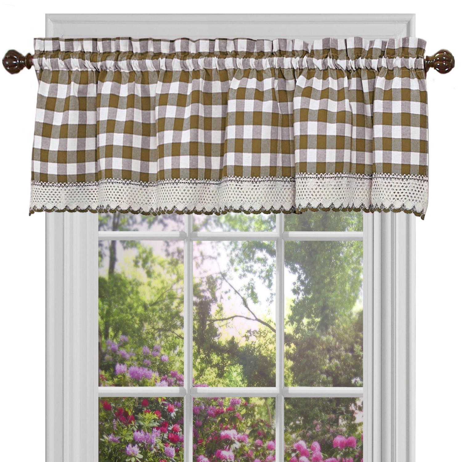 Well Liked Classic Navy Cotton Blend Buffalo Check Kitchen Curtain Sets In Amazon: Bed Bath N More Classic Buffalo Check Kitchen (View 7 of 20)