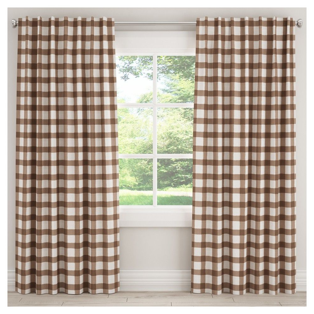 """Well Liked Classic Navy Cotton Blend Buffalo Check Kitchen Curtain Sets Within Unlined Buffalo Check Curtain Panel Brown (50""""x (View 16 of 20)"""