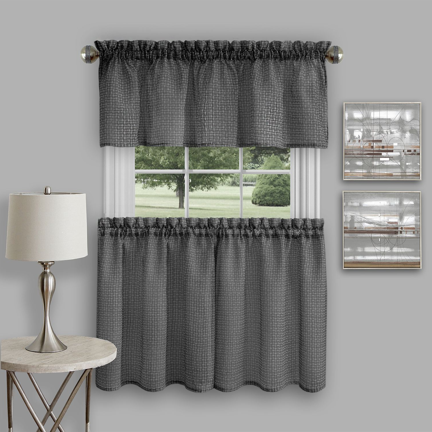 Well Liked Coastal Tier And Valance Window Curtain Sets Intended For Achim Richmond Window Kitchen Curtain Tier Pair And Valance Set (View 13 of 20)
