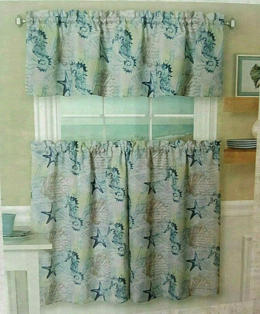 """Well Liked Coastal Tier And Valance Window Curtain Sets Regarding Coastal Tiers And Valance Set 36"""" L Seahorse Nautical Beach (View 9 of 20)"""