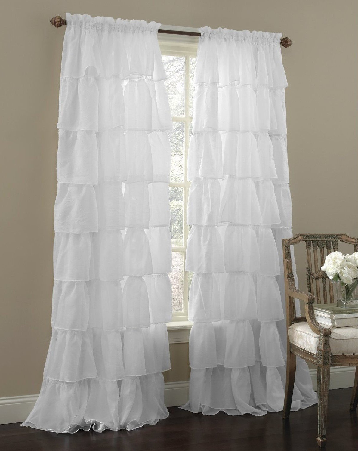 "Well Liked Decotex 2 Piece Gypsy Ruffled Shabby Chic Crushed Voile Sheer Window Curtain Treatment Panel Drapes (white, 55"" X 84"") Within Elegant Crushed Voile Ruffle Window Curtain Pieces (View 3 of 20)"