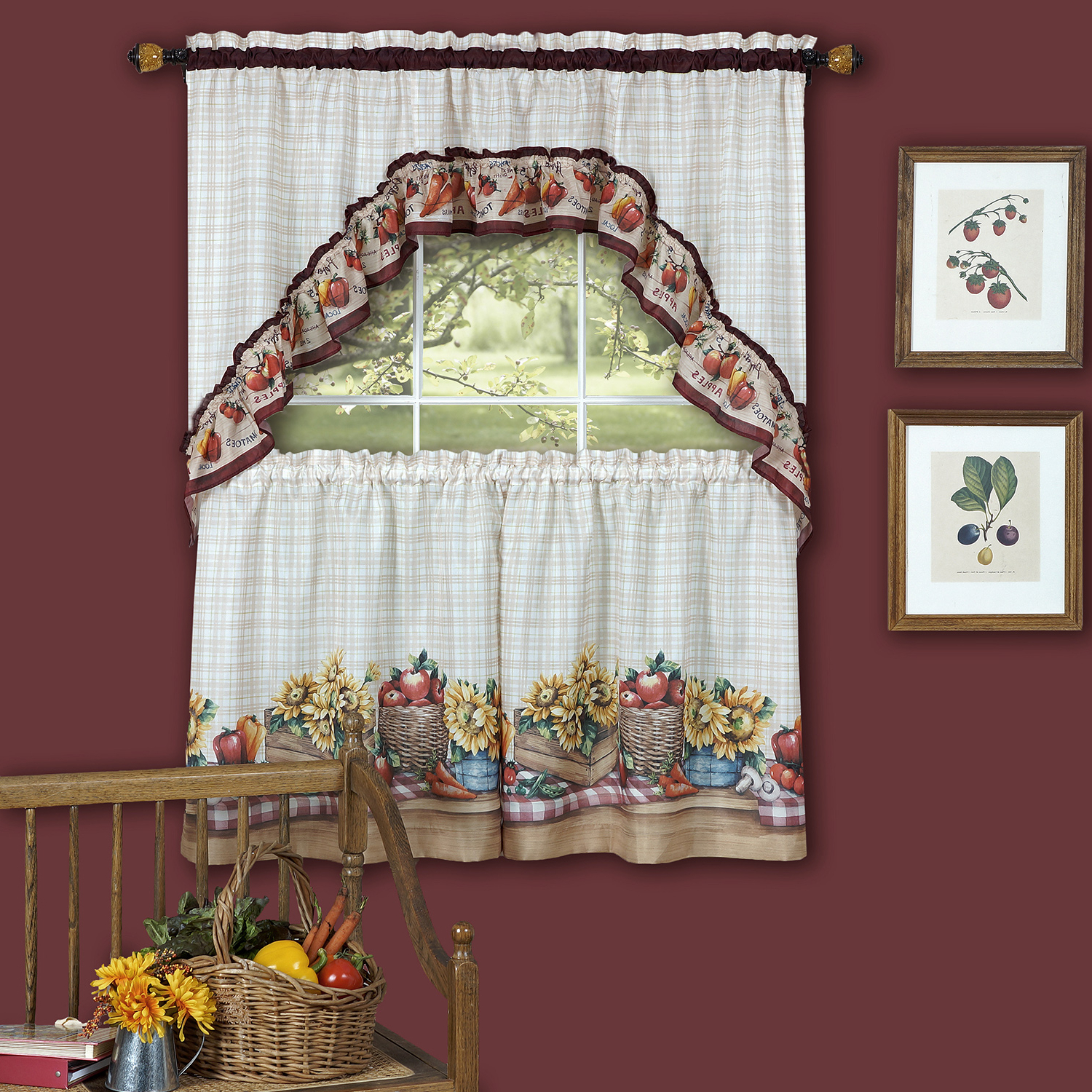 """Well Liked Details About Farmer's Market Fruit Flowers Kitchen Curtain 36"""" Tier Pair & 30"""" Swag Set Regarding Cotton Blend Ivy Floral Tier Curtain And Swag Sets (View 4 of 20)"""