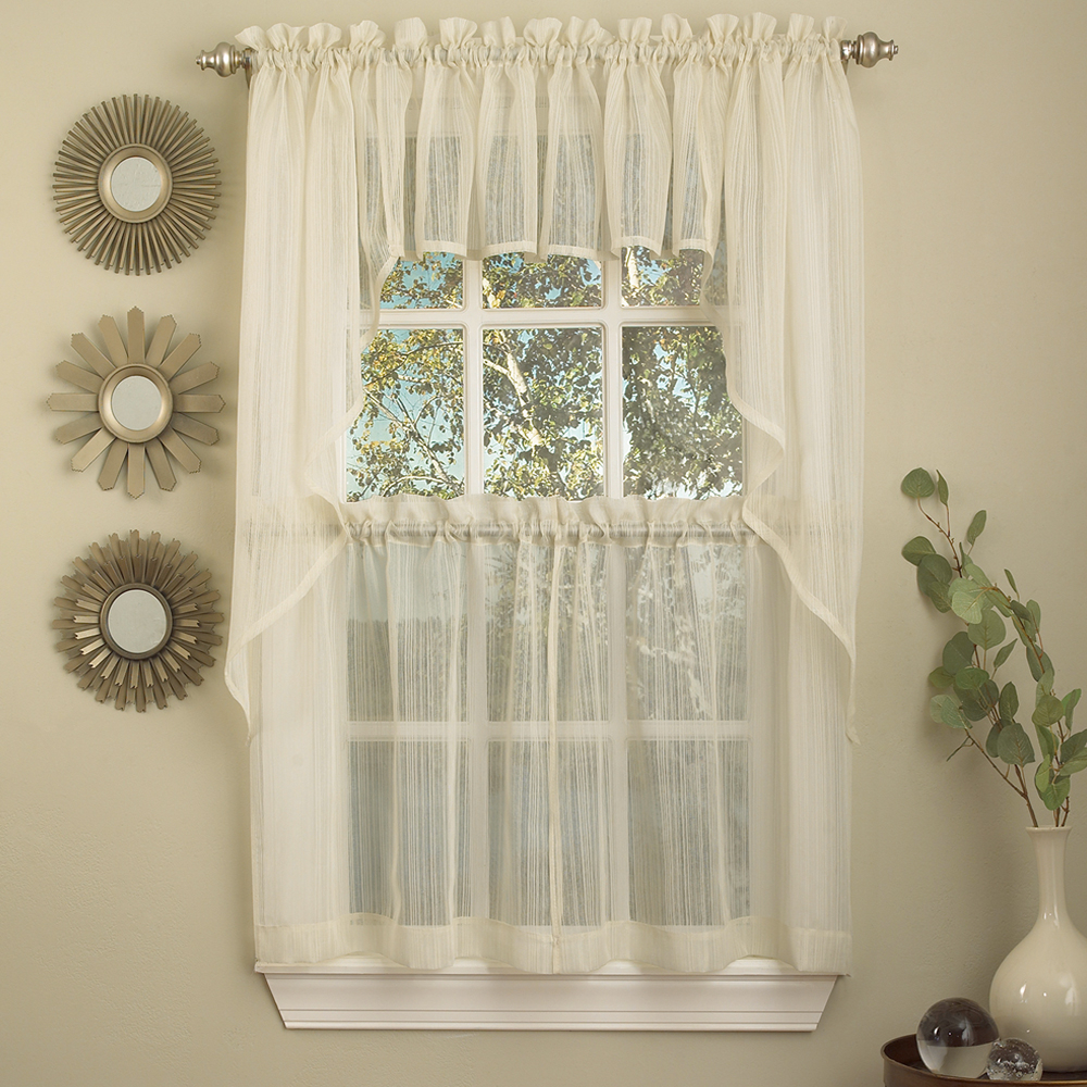 Well Liked Details About Harmony Ivory Micro Stripe Semi Sheer Kitchen Curtains Tier Or Valance Or Swag Intended For Touch Of Spring 24 Inch Tier Pairs (View 20 of 20)