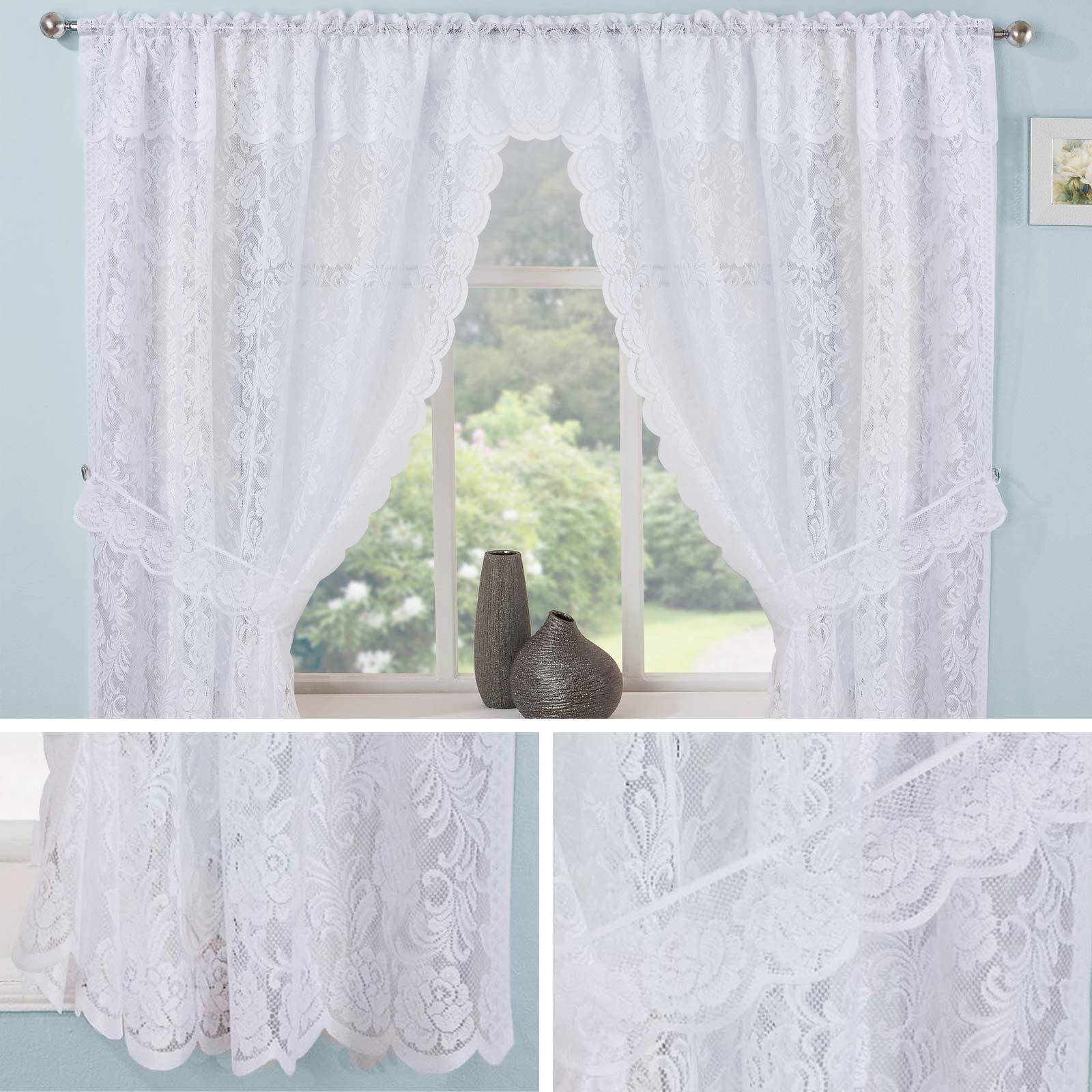 Well Liked Details About Lace Curtain Sets White Kew Complete Kitchen Window Floral Ready Made Curtains Throughout Glasgow Curtain Tier Sets (View 13 of 20)