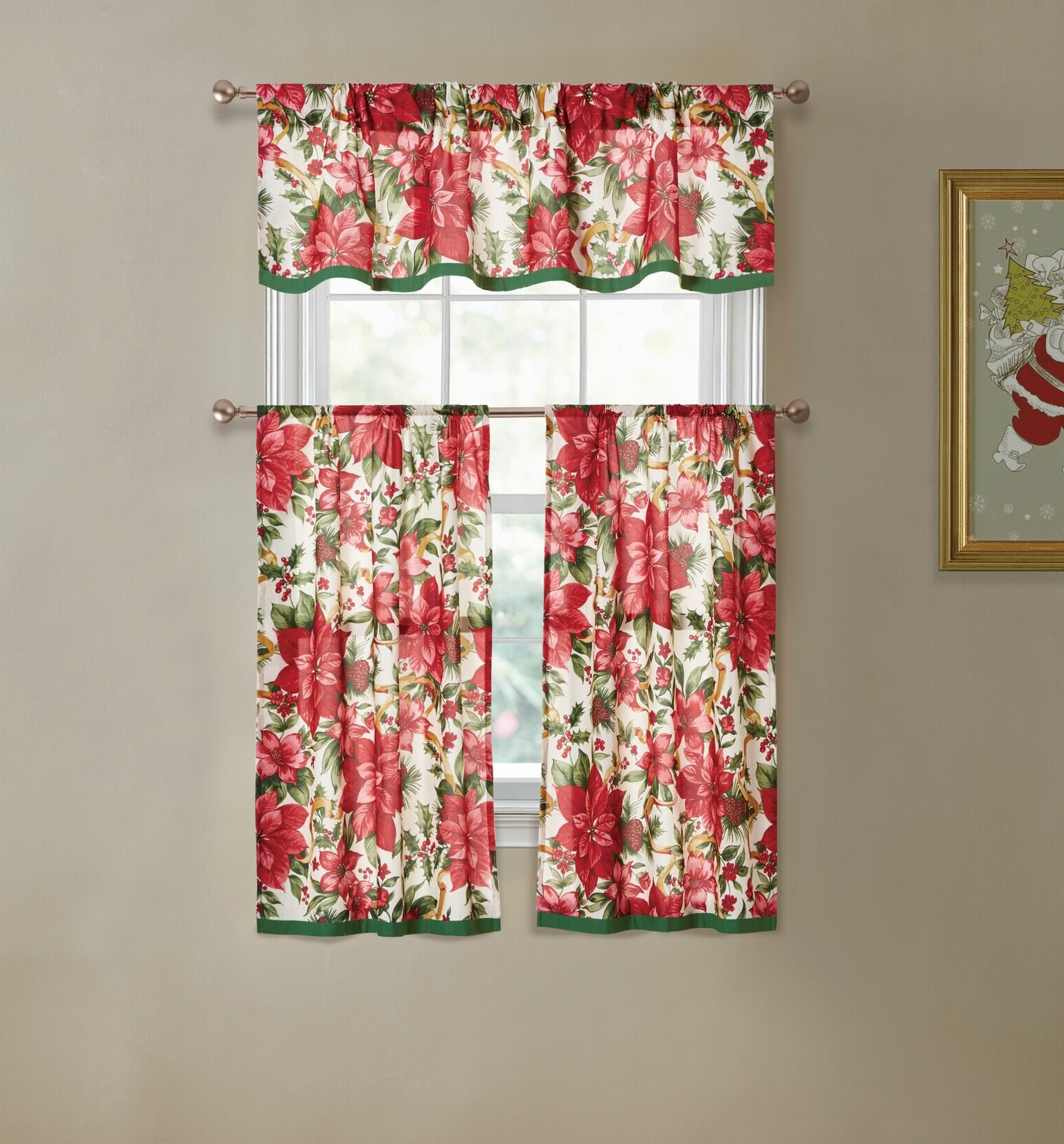 Well Liked Elraine Poinsettia 3 Piece Kitchen Curtain And Valance Set Pertaining To Chateau Wines Cottage Kitchen Curtain Tier And Valance Sets (View 19 of 20)