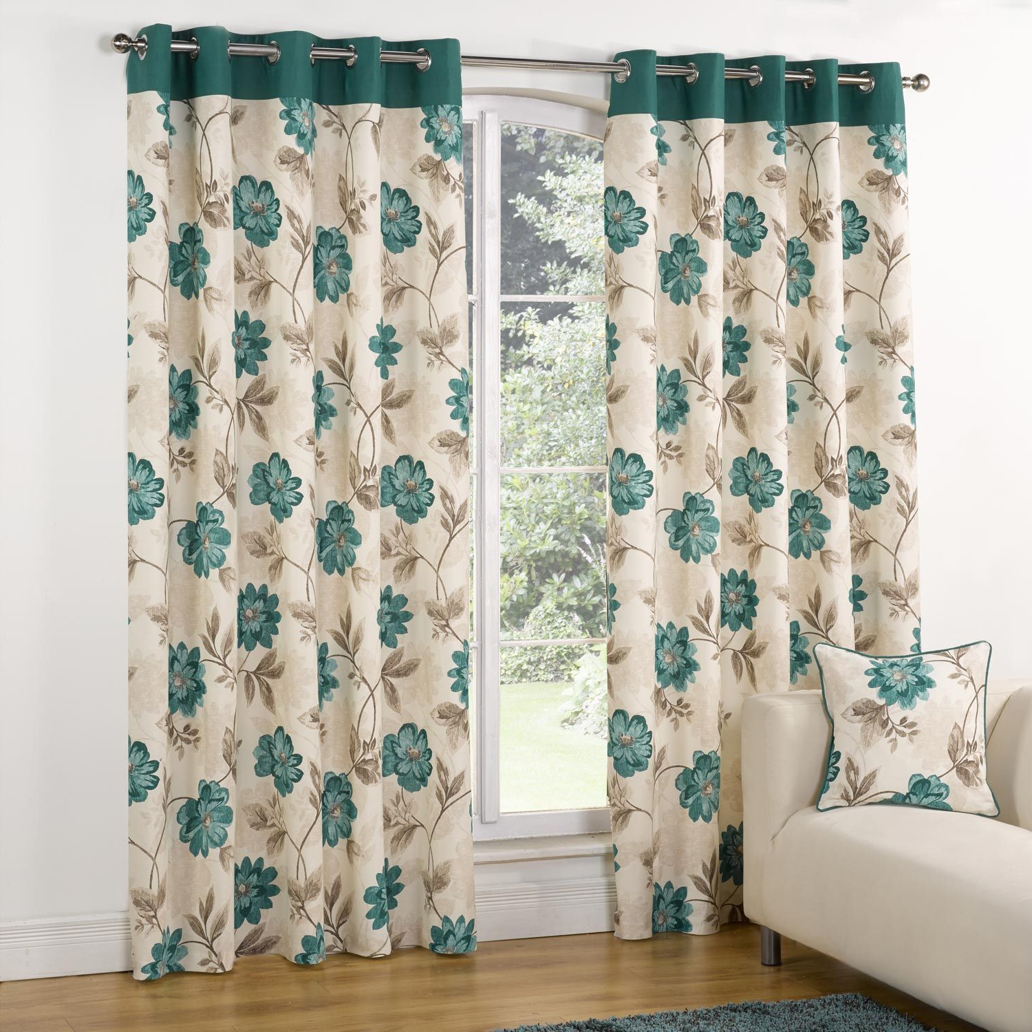 Well Liked Embroidered Floral 5 Piece Kitchen Curtain Sets Pertaining To Modern Casa Floral Trail Print Lined Eyelet Curtains Teal (View 11 of 20)