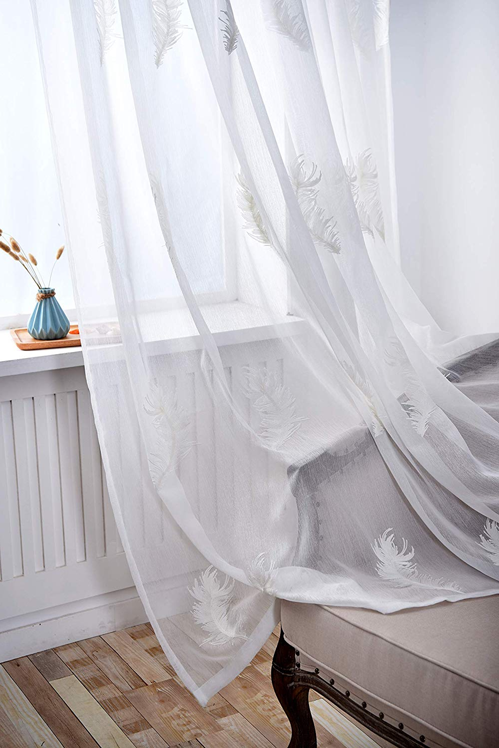 Well Liked Embroidered Ladybugs Window Curtain Pieces Intended For Suntown Home Decorations Pinch Pleat White Sheer Curtain For Bedroom Large Feather Embroidery Window Panels/treatment 85 Inches Long For Living Room – (View 7 of 20)