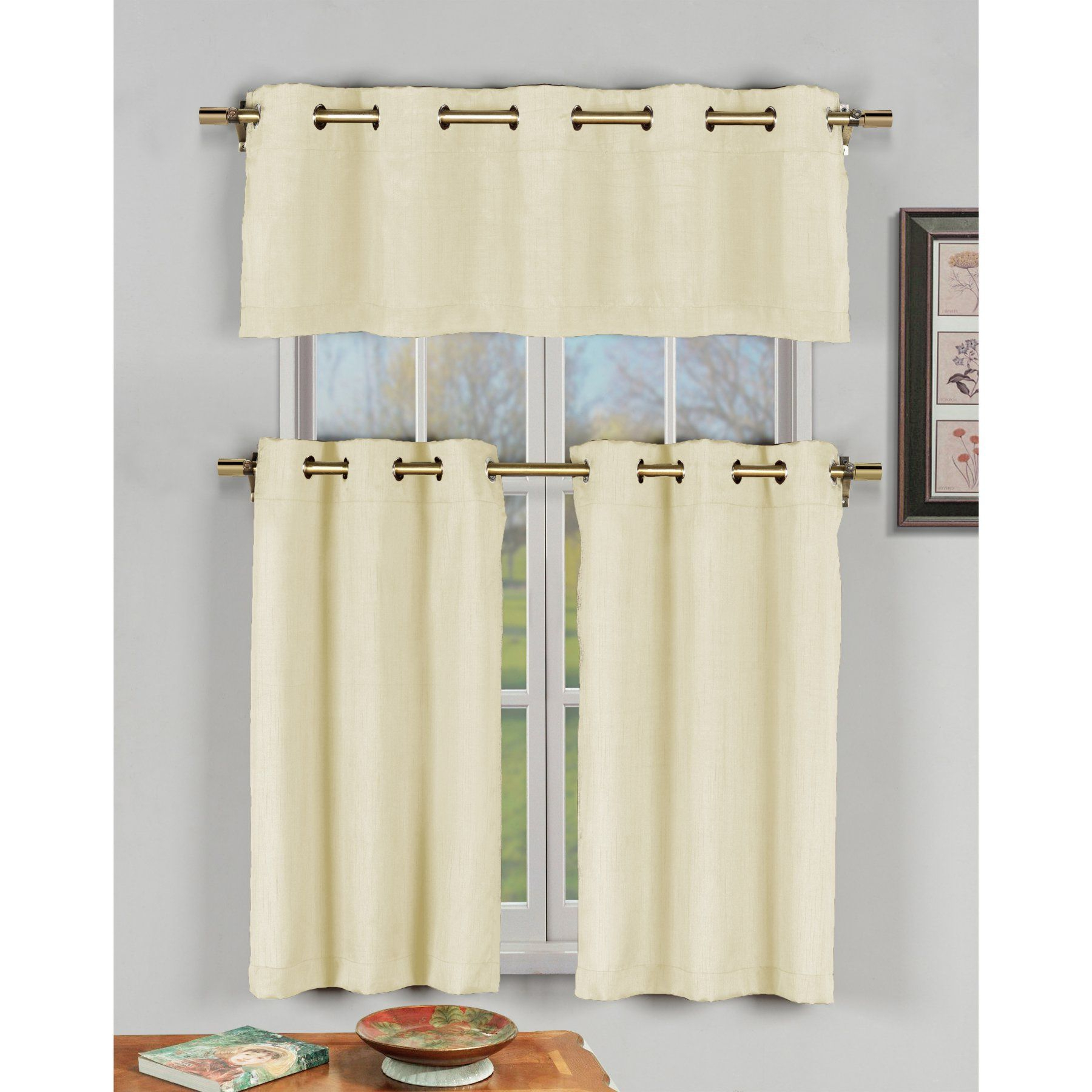 Well Liked Faux Silk 3 Piece Kitchen Curtain Sets With Regard To Duck River Agnes Faux Silk 3 Piece Grommet Kitchen Curtain (View 19 of 20)