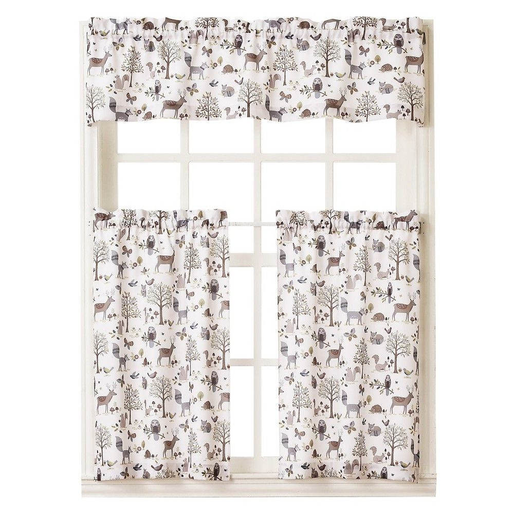 """Well Liked Forest Friends Kitchen Tier Pair – Ivory (56"""" X 24 Within Forest Valance And Tier Pair Curtains (View 3 of 20)"""