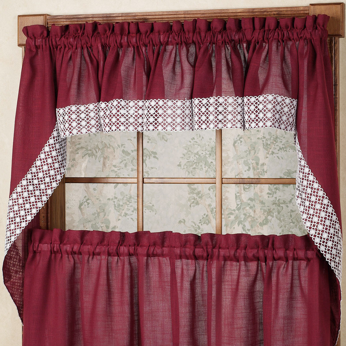 "Well Liked French Vanilla Country Style Curtain Parts With White Daisy Lace Accent Inside Salem Kitchen Window Curtain W/ Lace Trim – 38"" Swag Pair Burgundy (View 20 of 20)"