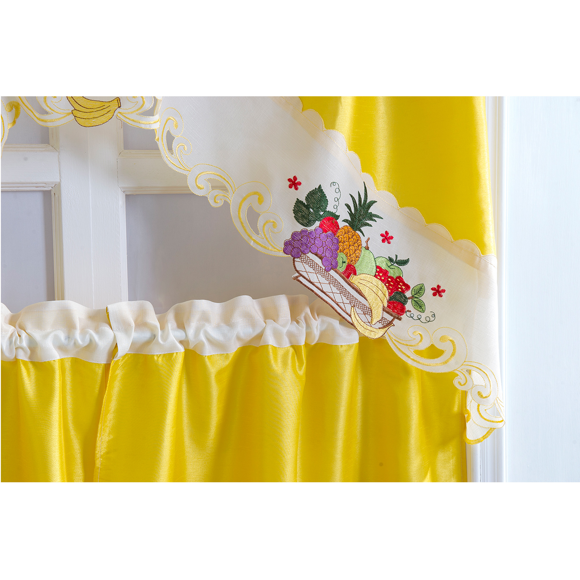 Well Liked Imperial Flower Jacquard Tier And Valance Kitchen Curtain Sets For Details About Rt Designers Collection Vintage Tier & Swag Kitchen Curtain Set – Multi (View 14 of 20)