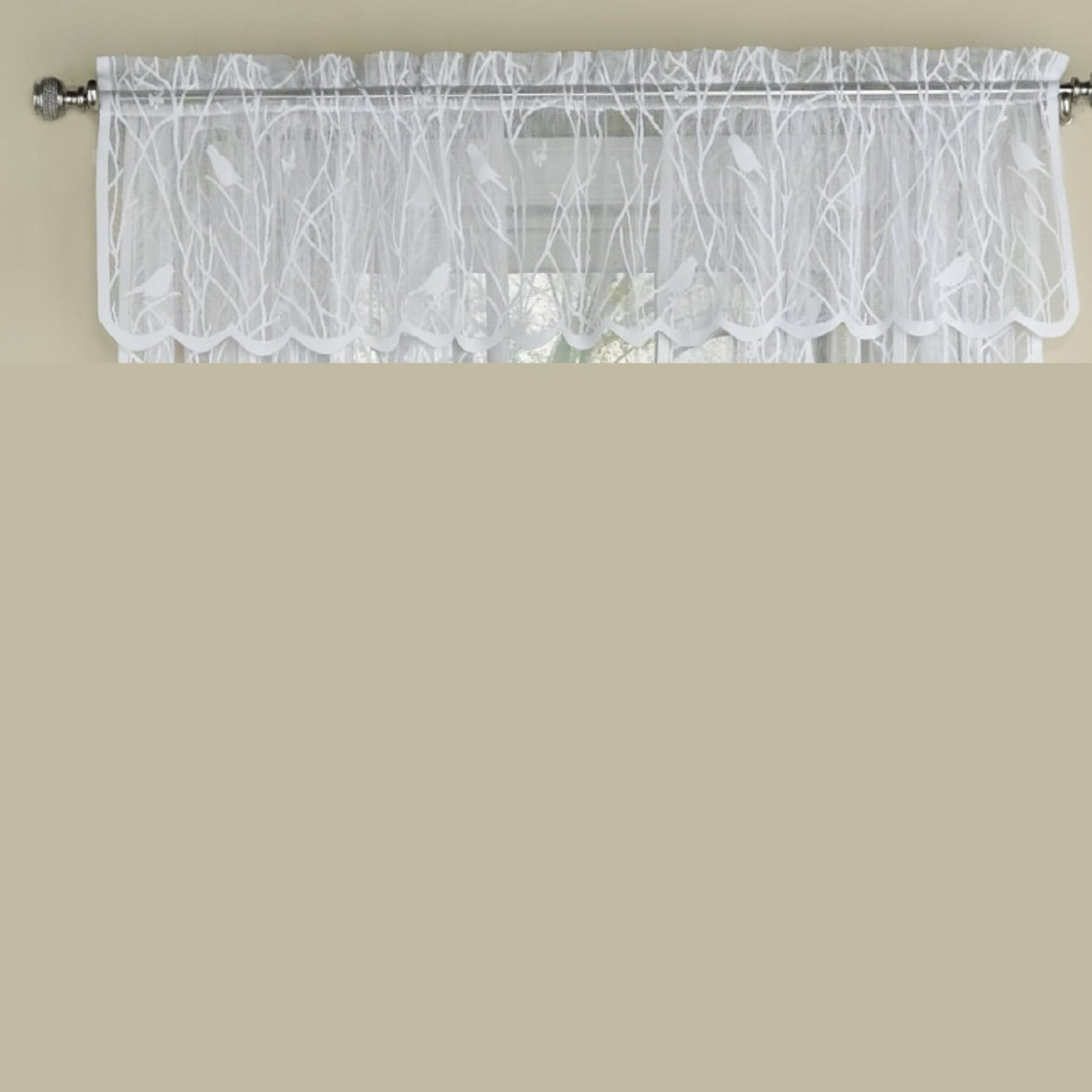 """Well Liked Ivory Knit Lace Bird Motif Window Curtain Inside Prevatte Bird Song Sheer Lace Tailored 56"""" Window Valance (View 17 of 20)"""