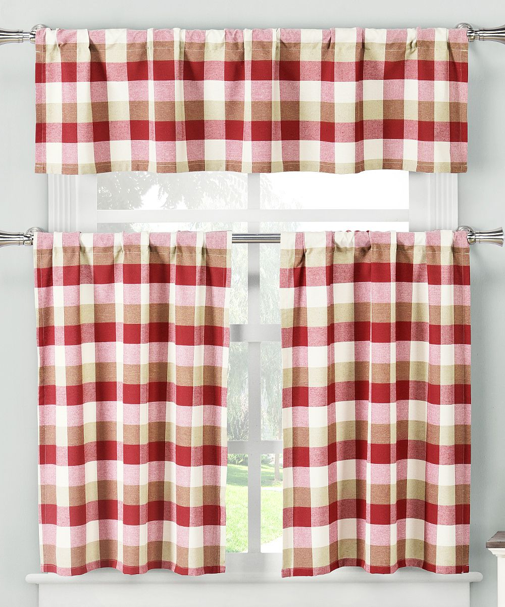 Well Liked Kitchen Burgundy/white Curtain Sets Regarding Burgundy & White Stripe Kylie Valence & Curtain Panel Set (View 13 of 20)