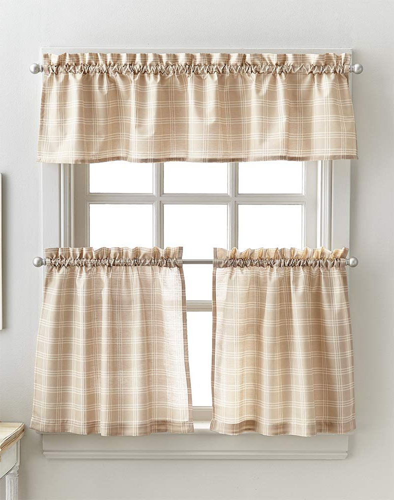 Well Liked Lodge Plaid 3 Piece Kitchen Curtain Tier And Valance Sets Inside Classic Lodge Plaid 3 Piece Kitchen Curtain Tier And Valance Set, Linen (View 3 of 20)