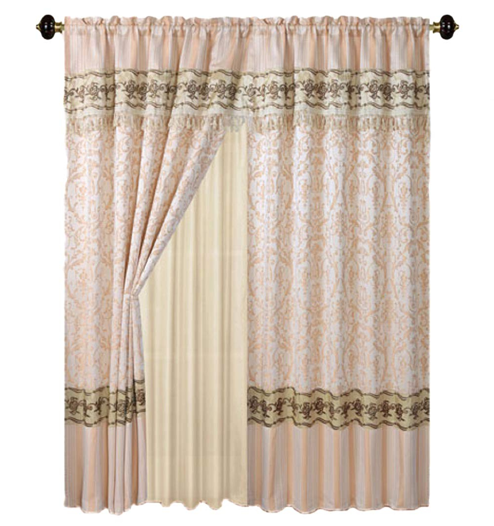 Well Liked Luxury Jacquard Curtains Chocolate Brown Window Panels With Backing, Valance And Tie Backs Emma D122 (brown) With Regard To Embroidered 'coffee Cup' 5 Piece Kitchen Curtain Sets (View 19 of 20)