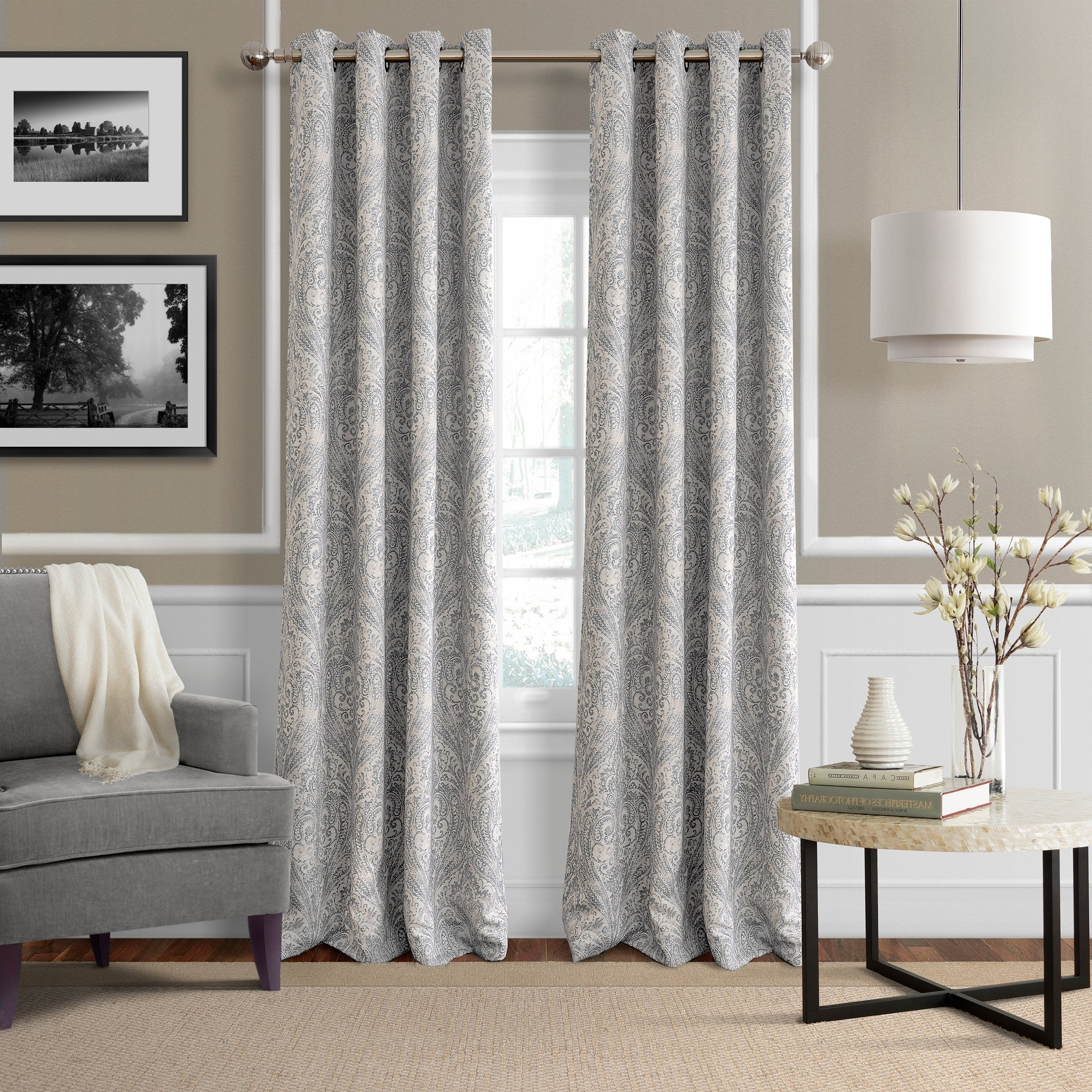 Well Liked Porch & Den Lorentz Silver 24 Inch Tier Pairs Within Details About Porch & Den Patrick Room Darkening Grommet Top Curtain Panel (View 13 of 20)