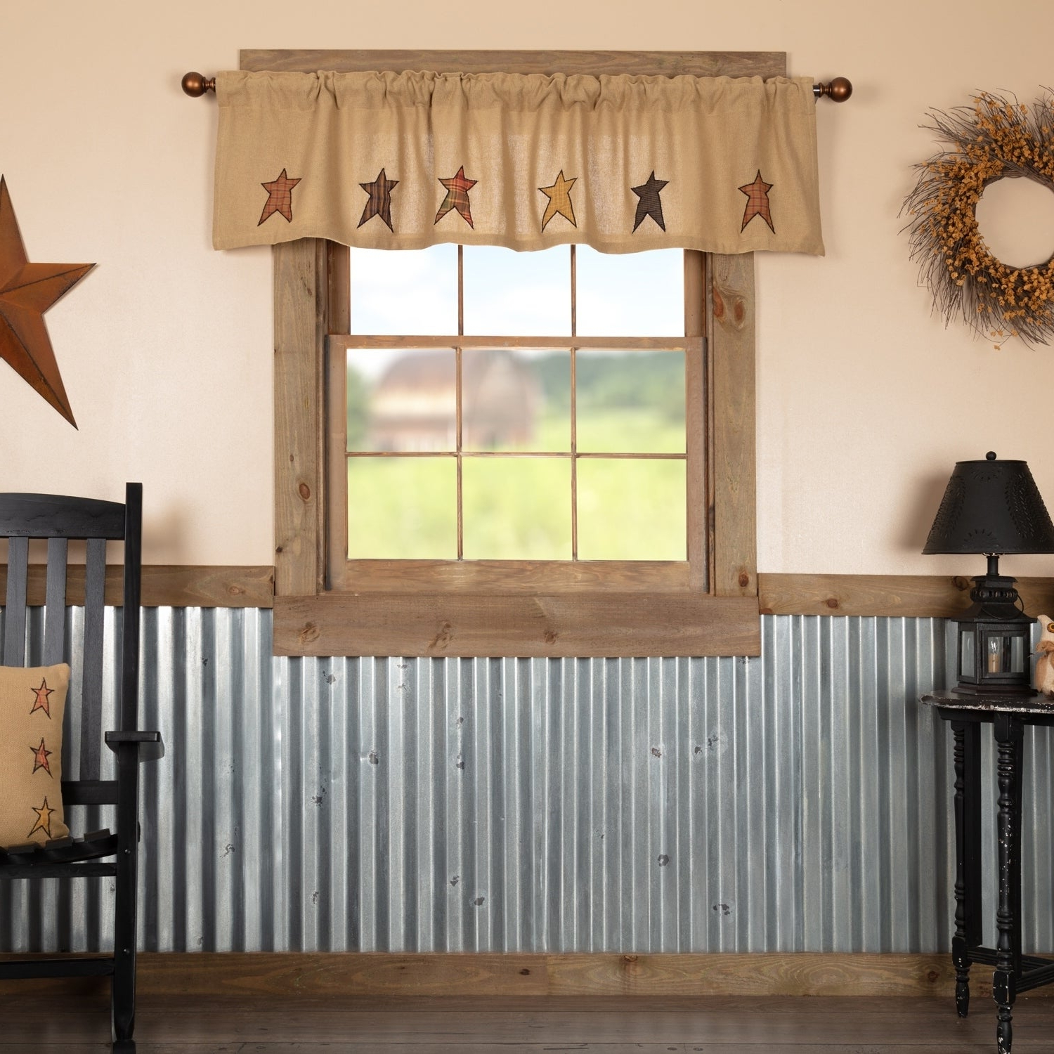 Well Liked Primitive Kitchen Curtains Intended For Details About Tan Primitive Kitchen Curtains Vhc Stratton Stars Valance  Country Black, Natural (View 20 of 20)