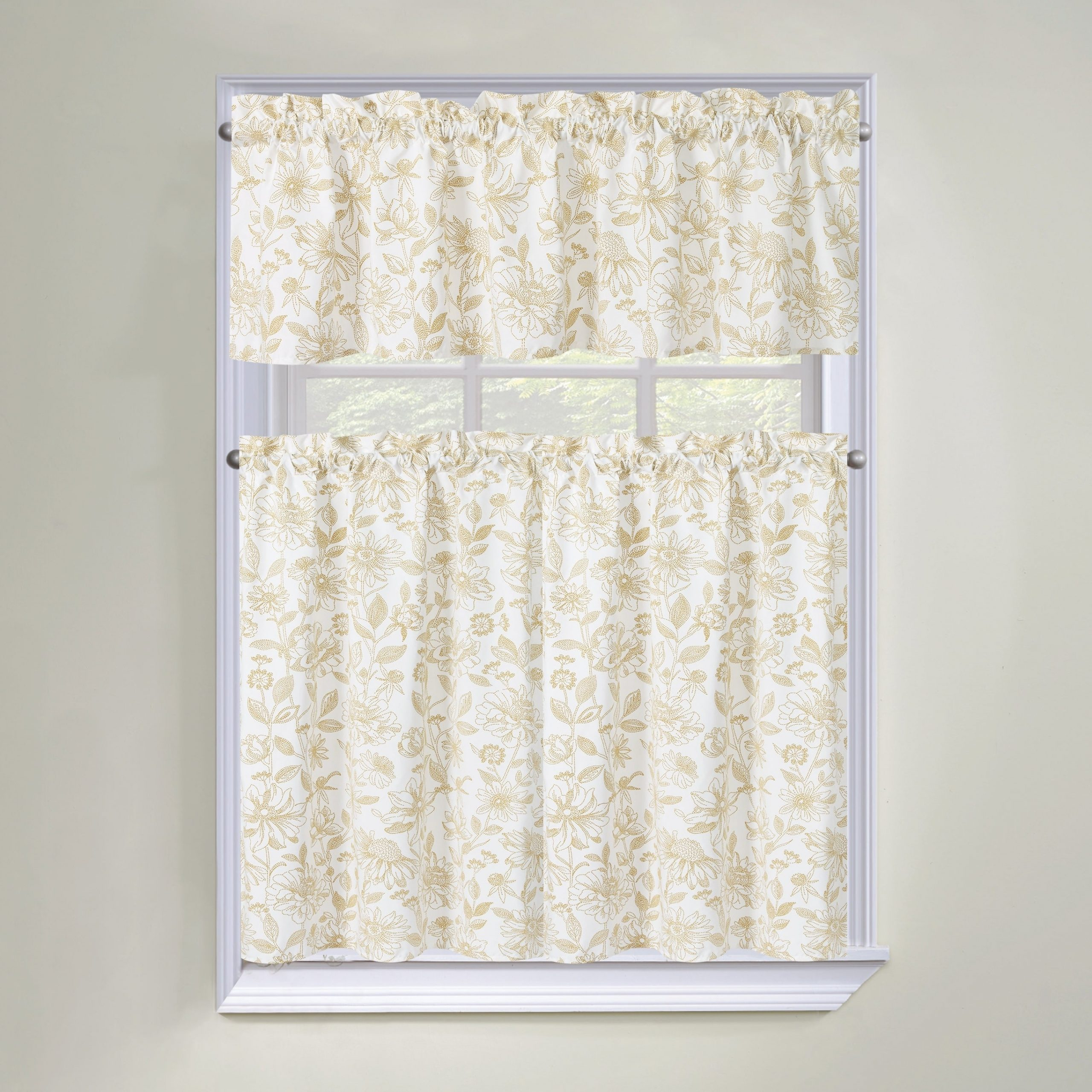 Well Liked Regal Home Collections Amelia Floral 3 Piece Tier Curtain And Valance Set – 60 W X36 L Inches For Seabreeze 36 Inch Tier Pairs In Ocean (View 17 of 20)