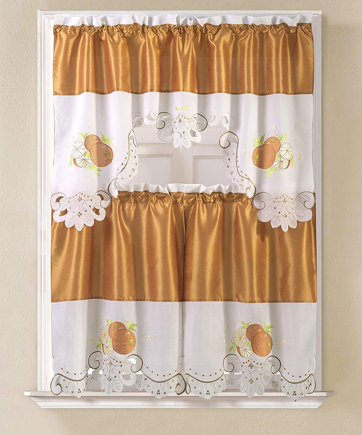 Well Liked Rt Designers Collection Noble Embroidered Tier & Valance Kitchen Curtain Set, Apple Inside Urban Embroidered Tier And Valance Kitchen Curtain Tier Sets (View 12 of 20)