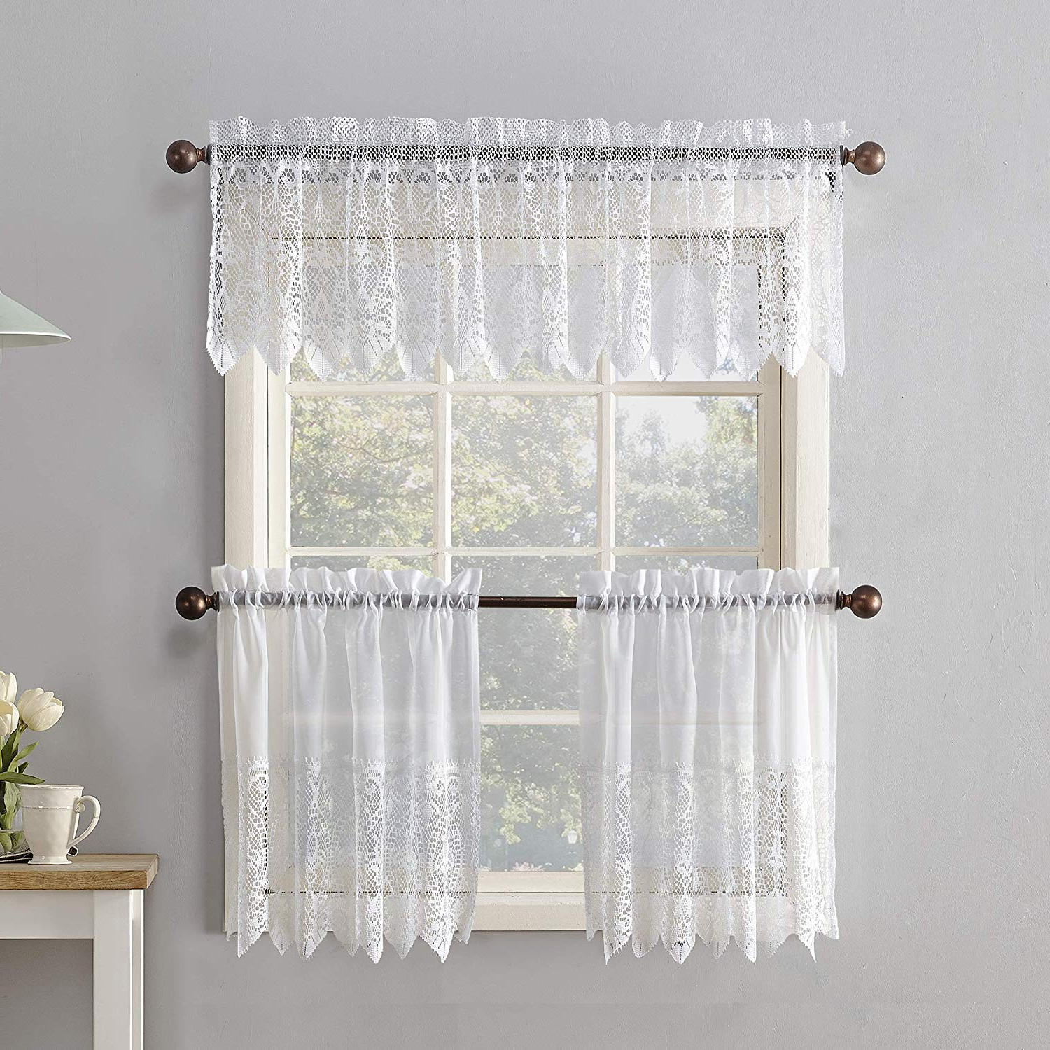 Well Liked Sheer Lace Elongated Kitchen Curtain Tier Pairs Inside No (View 20 of 20)